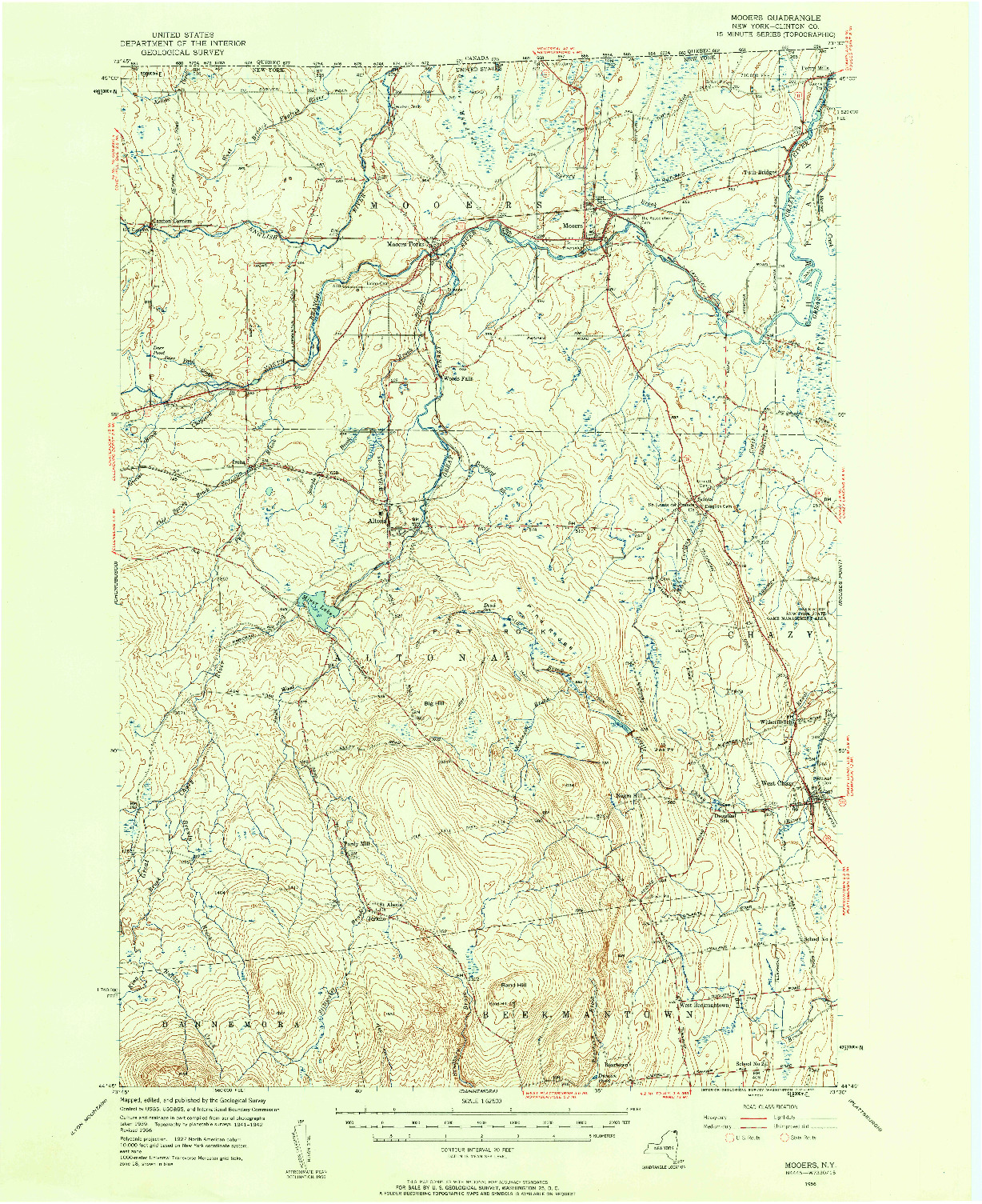 USGS 1:62500-SCALE QUADRANGLE FOR MOOERS, NY 1956