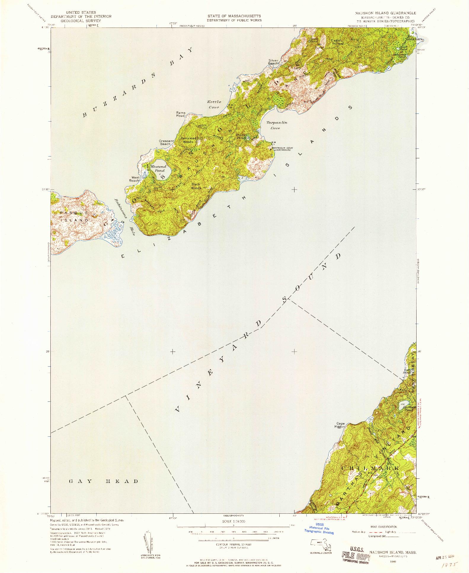 USGS 1:24000-SCALE QUADRANGLE FOR NAUSHON ISLAND, MA 1949