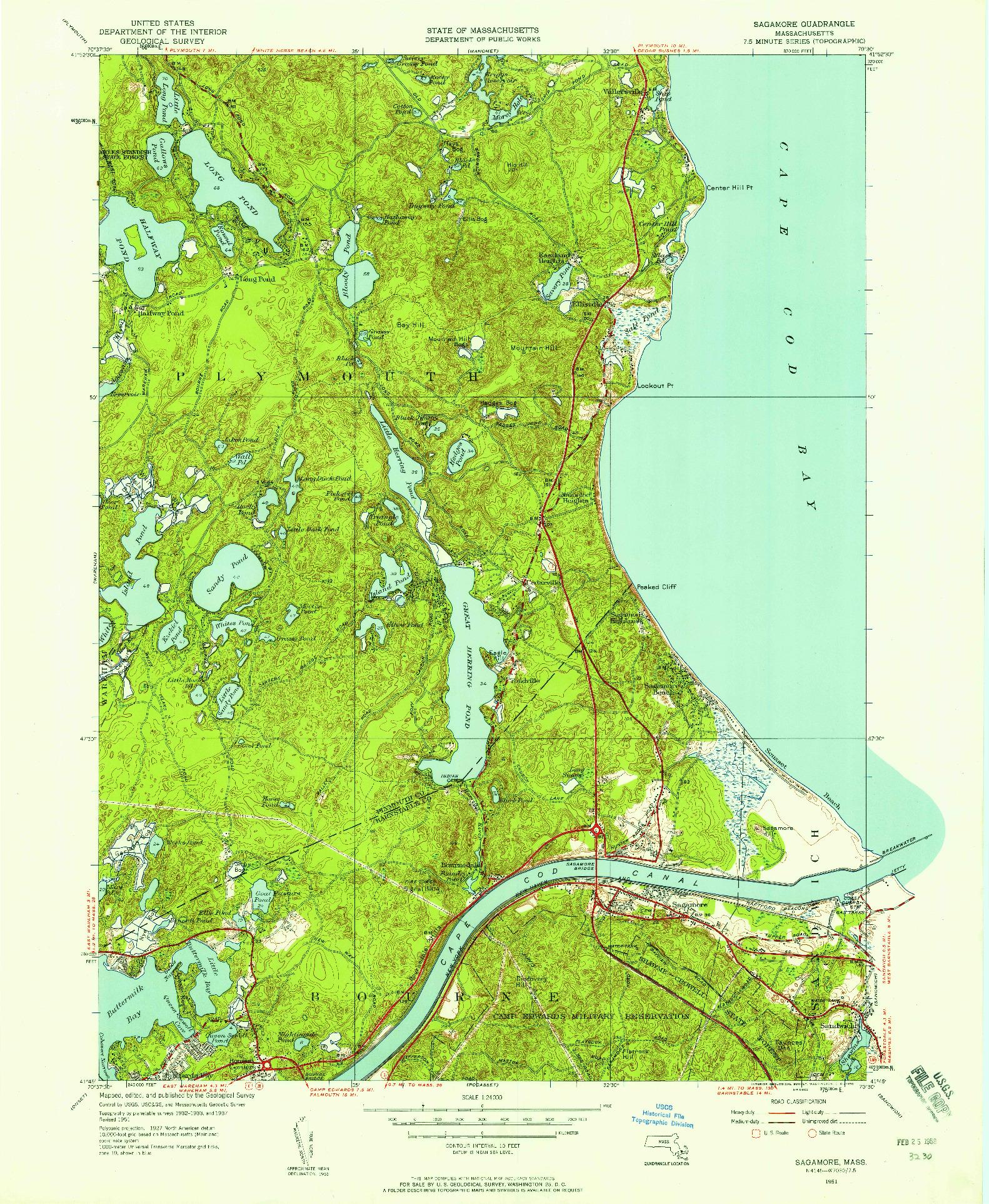 USGS 1:24000-SCALE QUADRANGLE FOR SAGAMORE, MA 1951
