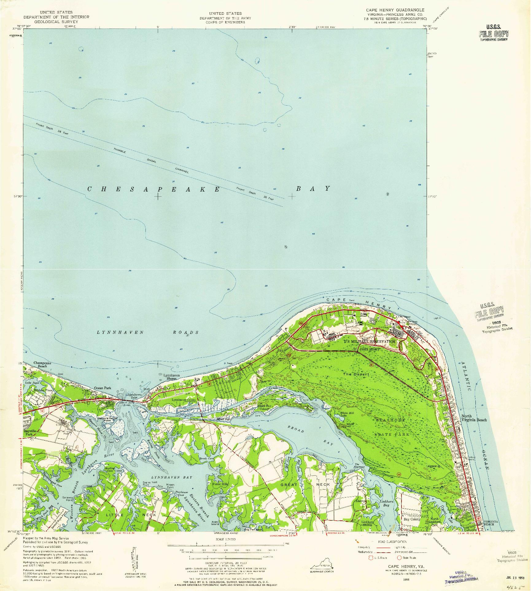 USGS 1:24000-SCALE QUADRANGLE FOR CAPE HENRY, VA 1955
