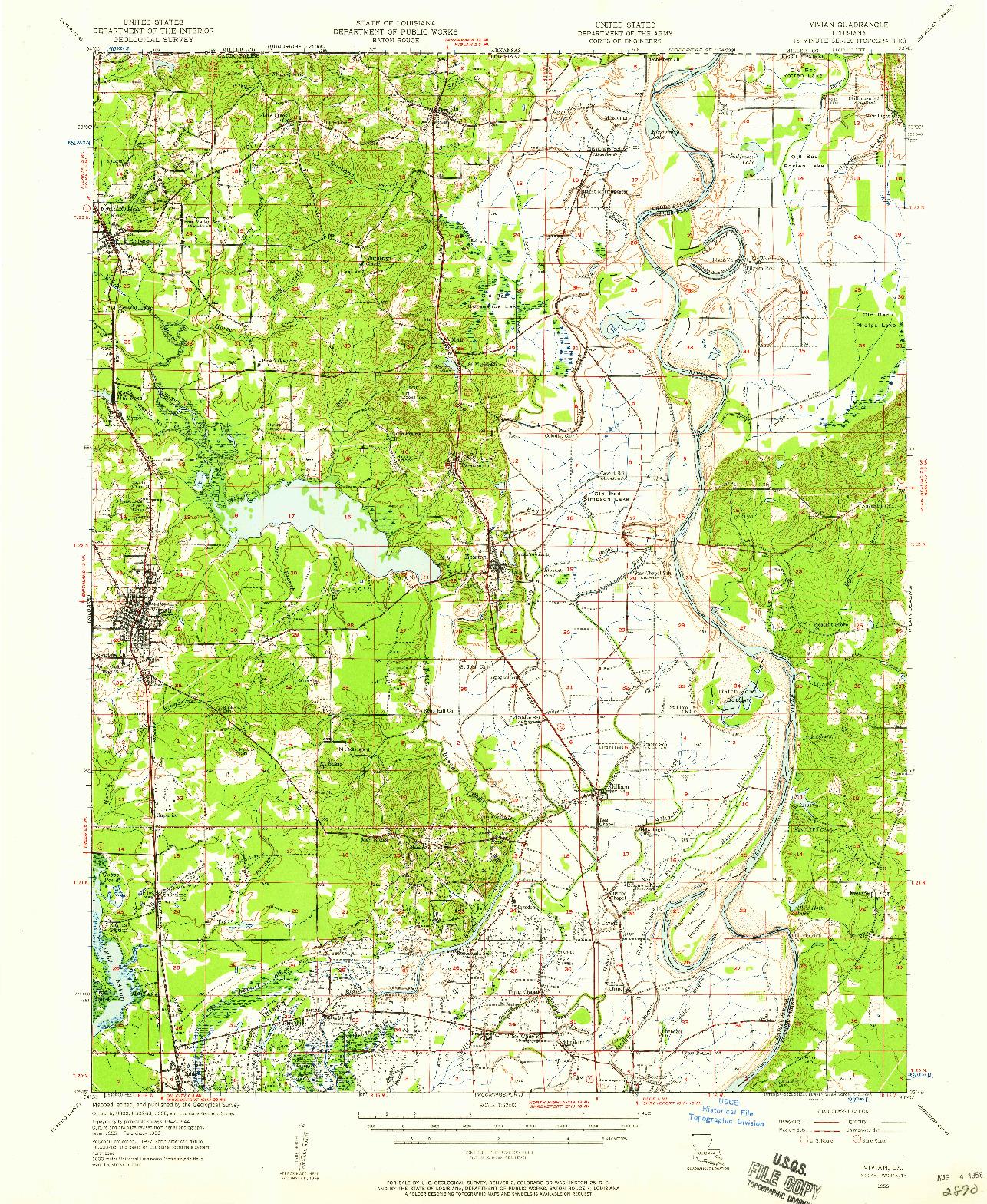 USGS 1:62500-SCALE QUADRANGLE FOR VIVIAN, LA 1956