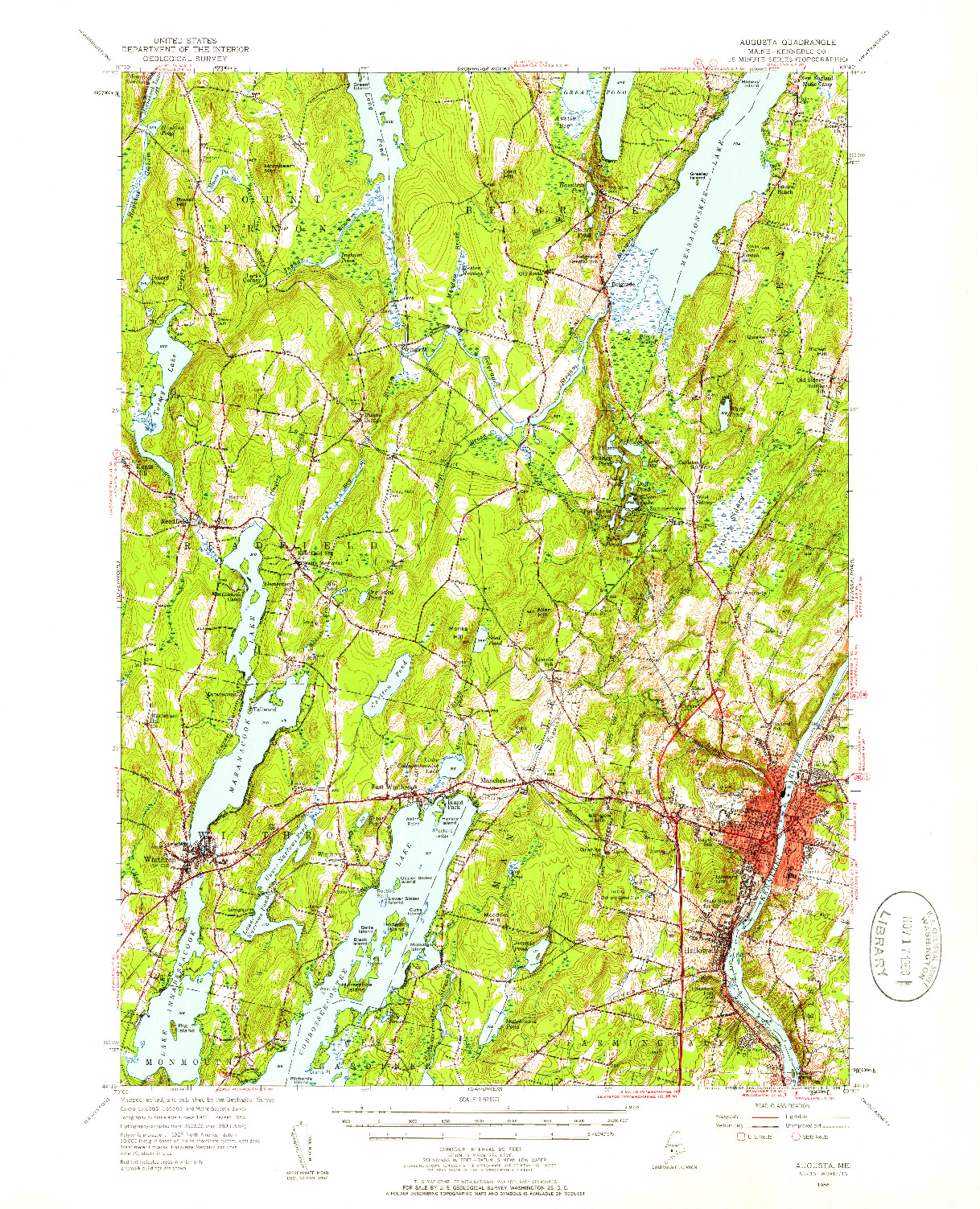 USGS 1:62500-SCALE QUADRANGLE FOR AUGUSTA, ME 1956