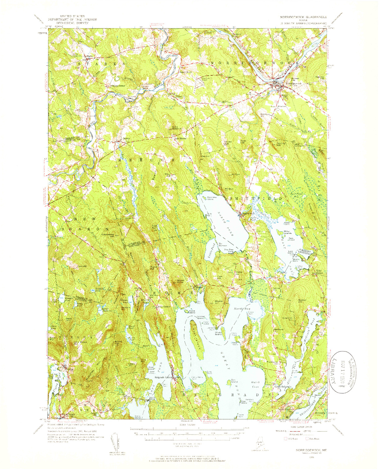 USGS 1:62500-SCALE QUADRANGLE FOR NORRIDGEWOCK, ME 1956