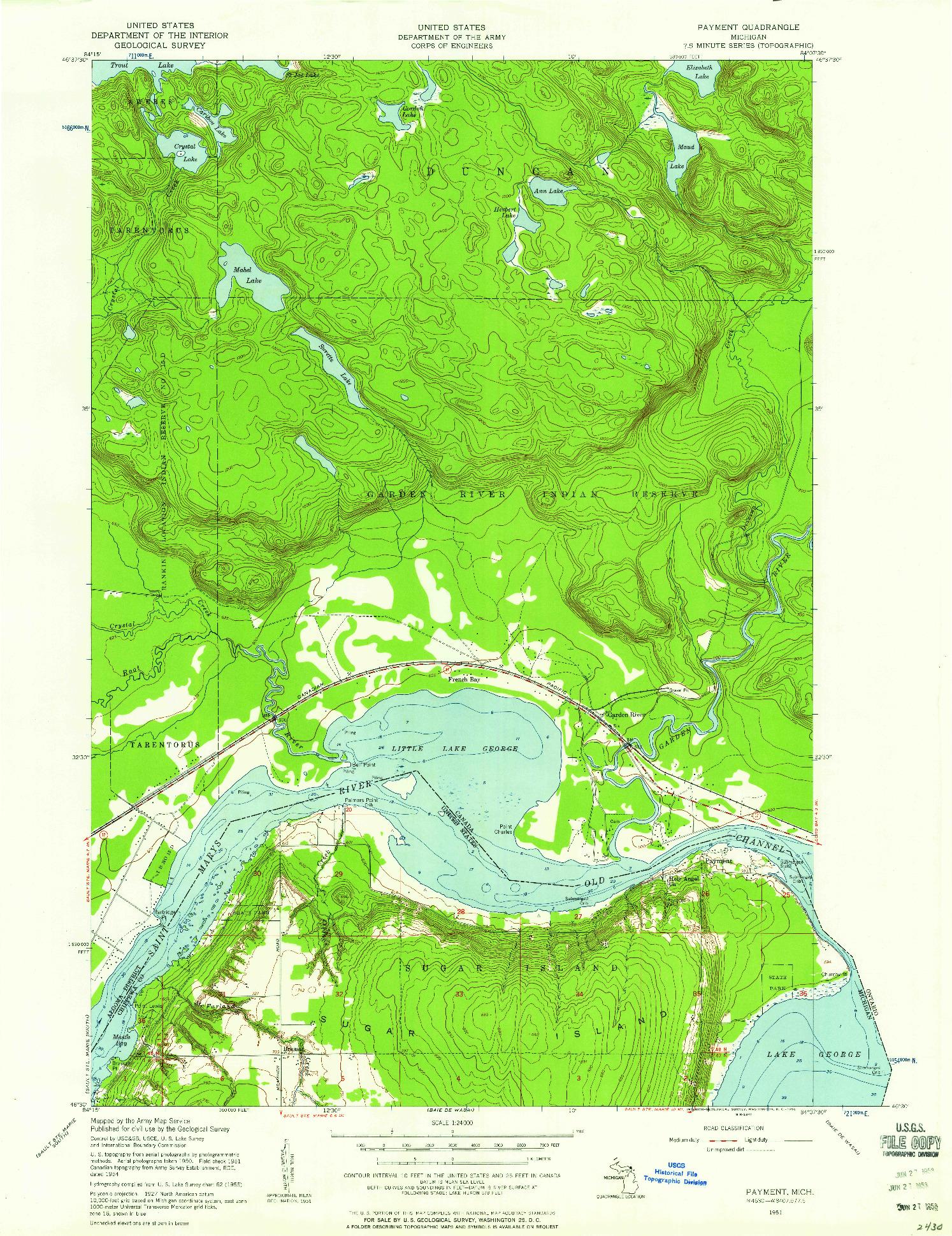 USGS 1:24000-SCALE QUADRANGLE FOR PAYMENT, MI 1951