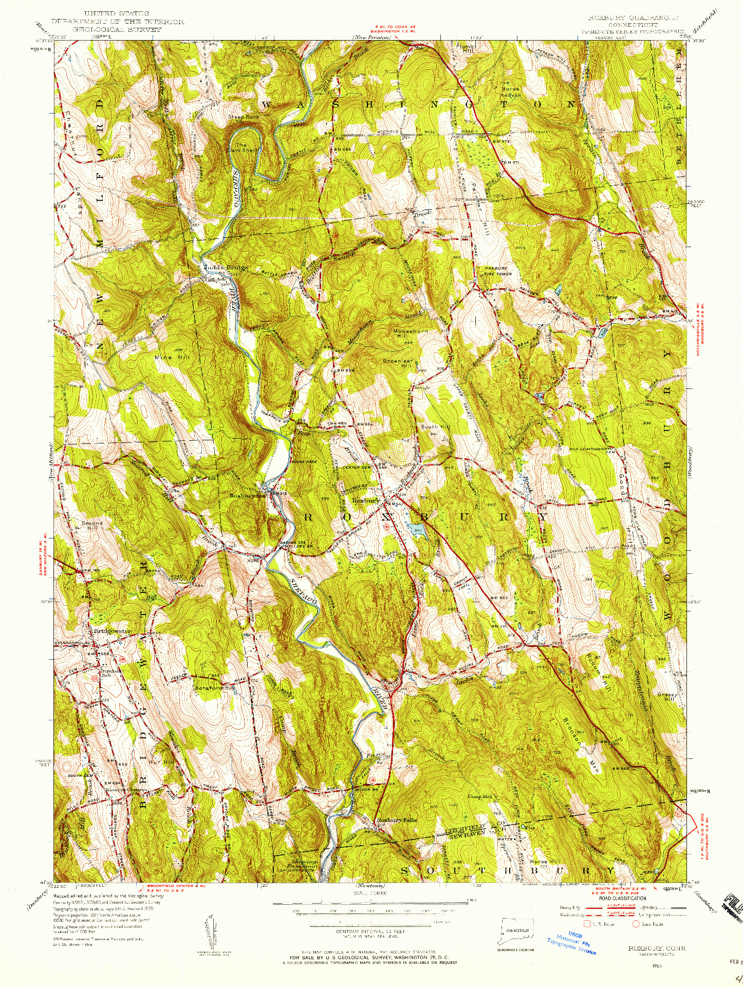 USGS 1:24000-SCALE QUADRANGLE FOR ROXBURY, CT 1955