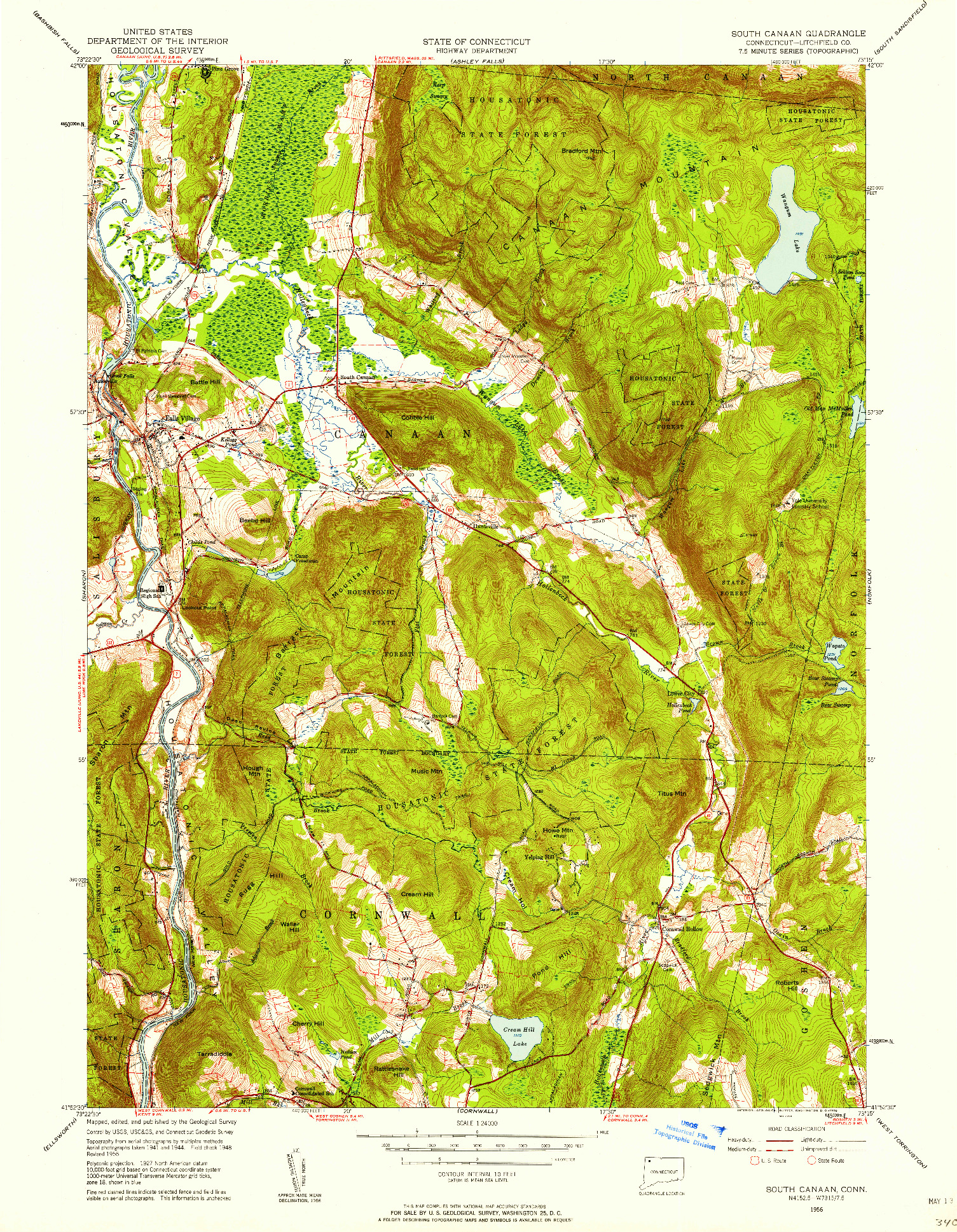 USGS 1:24000-SCALE QUADRANGLE FOR SOUTH CANAAN, CT 1956