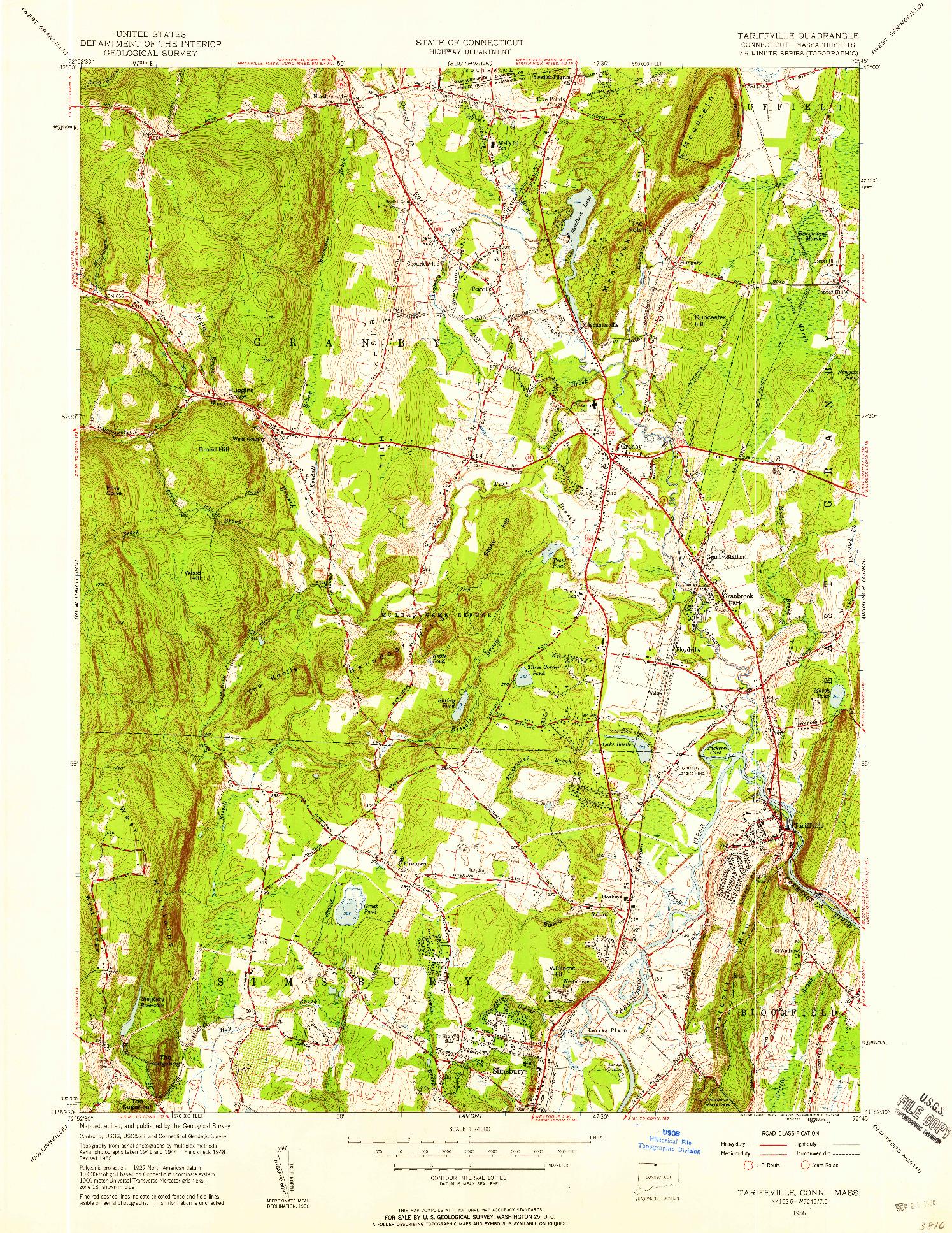 USGS 1:24000-SCALE QUADRANGLE FOR TARIFFVILLE, CT 1956