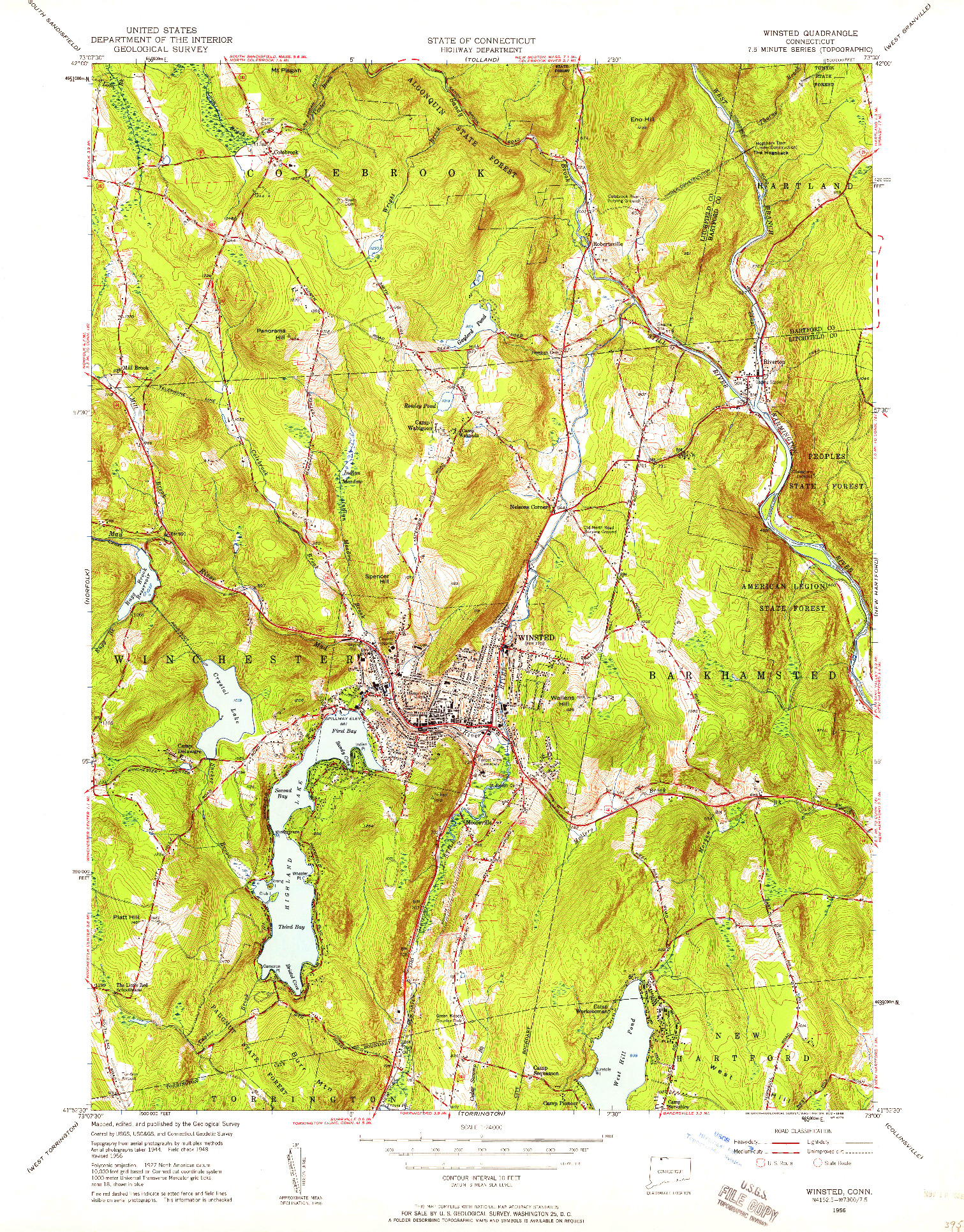 USGS 1:24000-SCALE QUADRANGLE FOR WINSTED, CT 1956