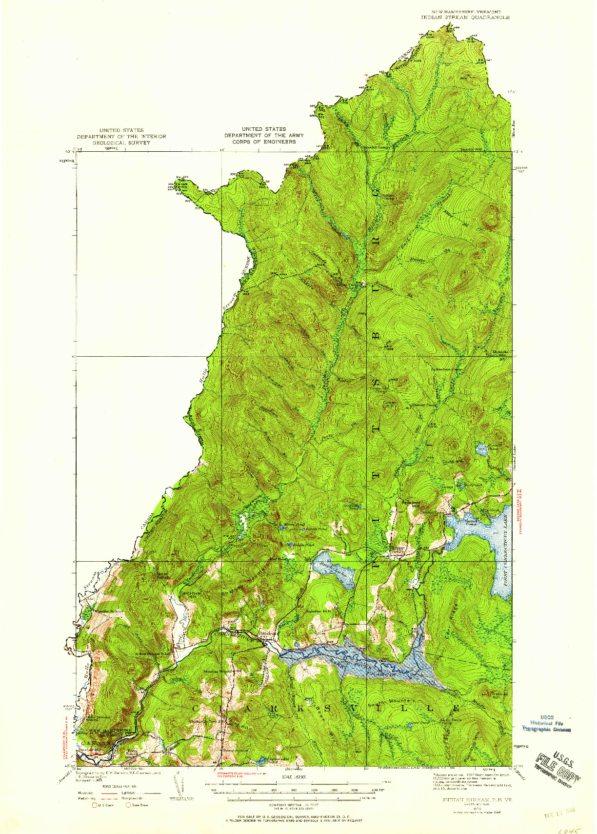 USGS 1:62500-SCALE QUADRANGLE FOR INDIAN STREAM, NH 1926