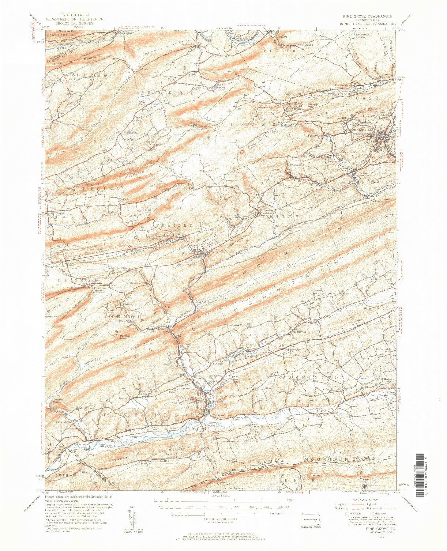 USGS 1:62500-SCALE QUADRANGLE FOR PINE GROVE, PA 1955