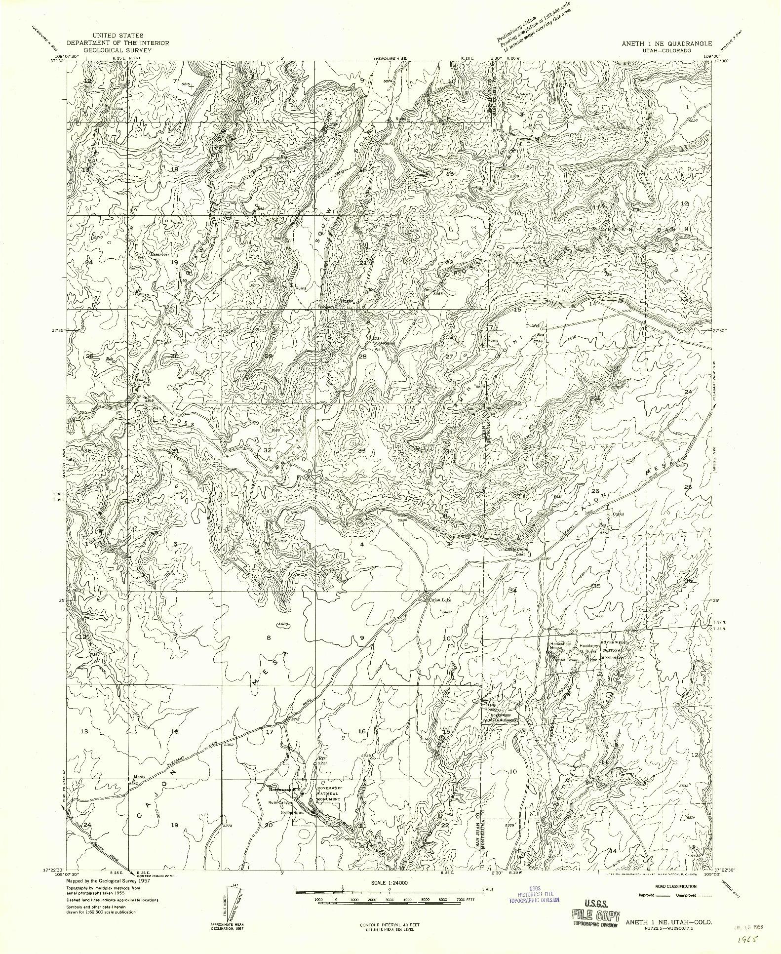 USGS 1:24000-SCALE QUADRANGLE FOR ANETH 1 NE, UT 1957