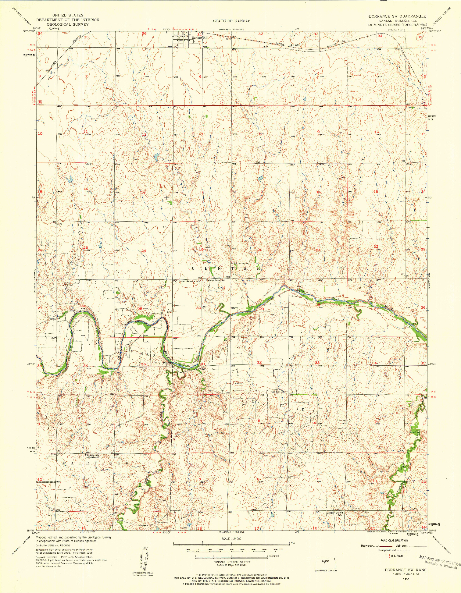 USGS 1:24000-SCALE QUADRANGLE FOR DORRANCE SW, KS 1956