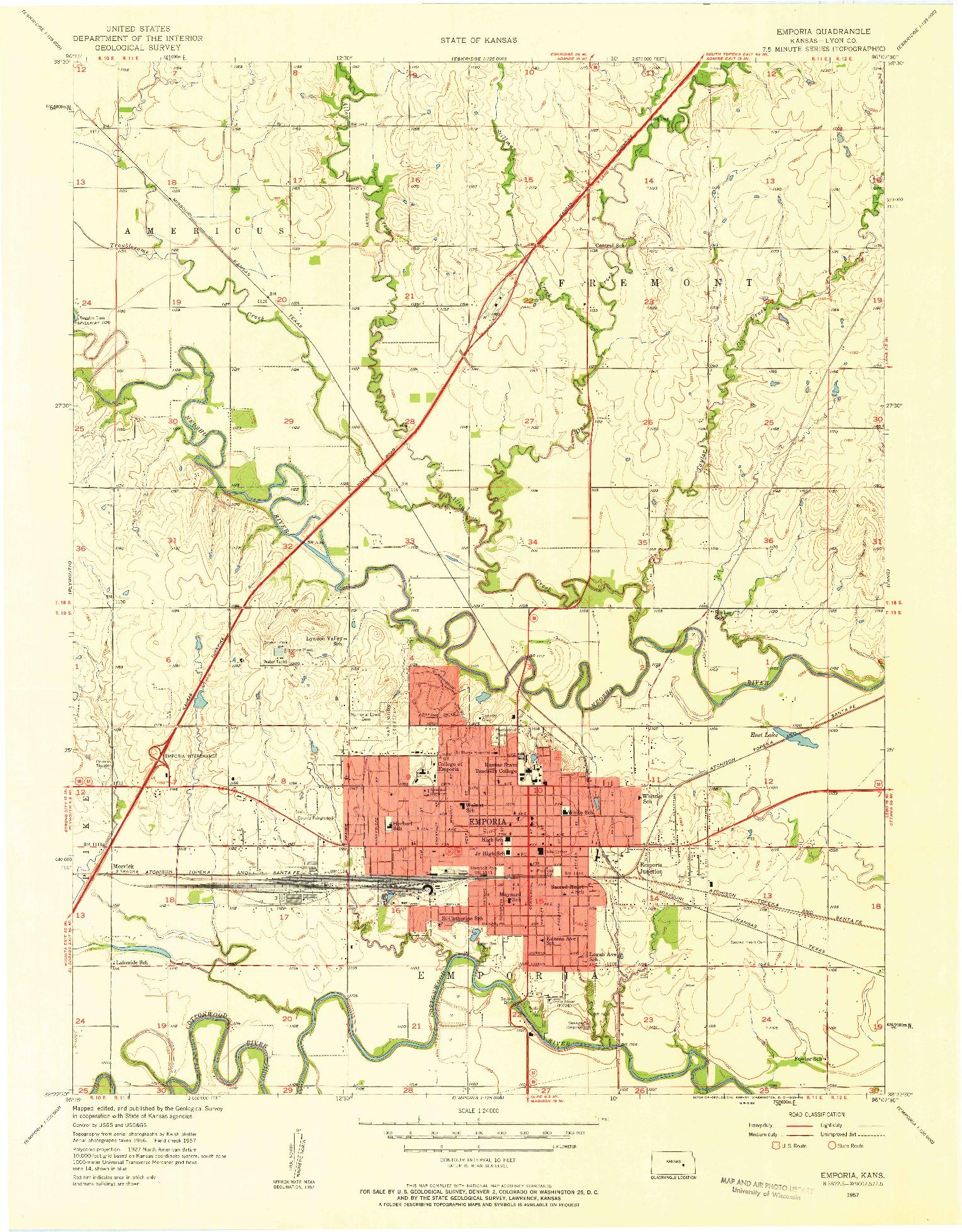 USGS 1:24000-SCALE QUADRANGLE FOR EMPORIA, KS 1957
