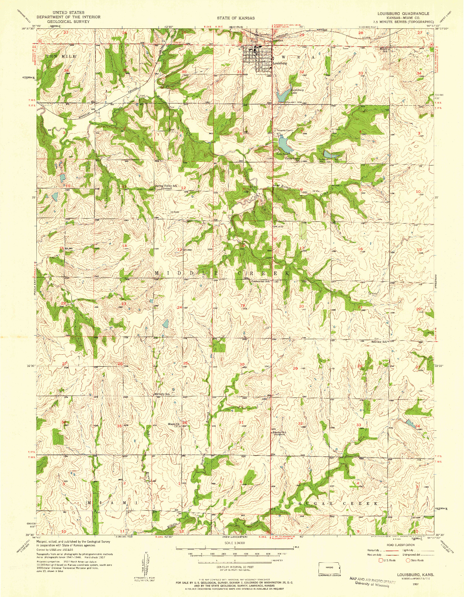 USGS 1:24000-SCALE QUADRANGLE FOR LOUISBURG, KS 1957