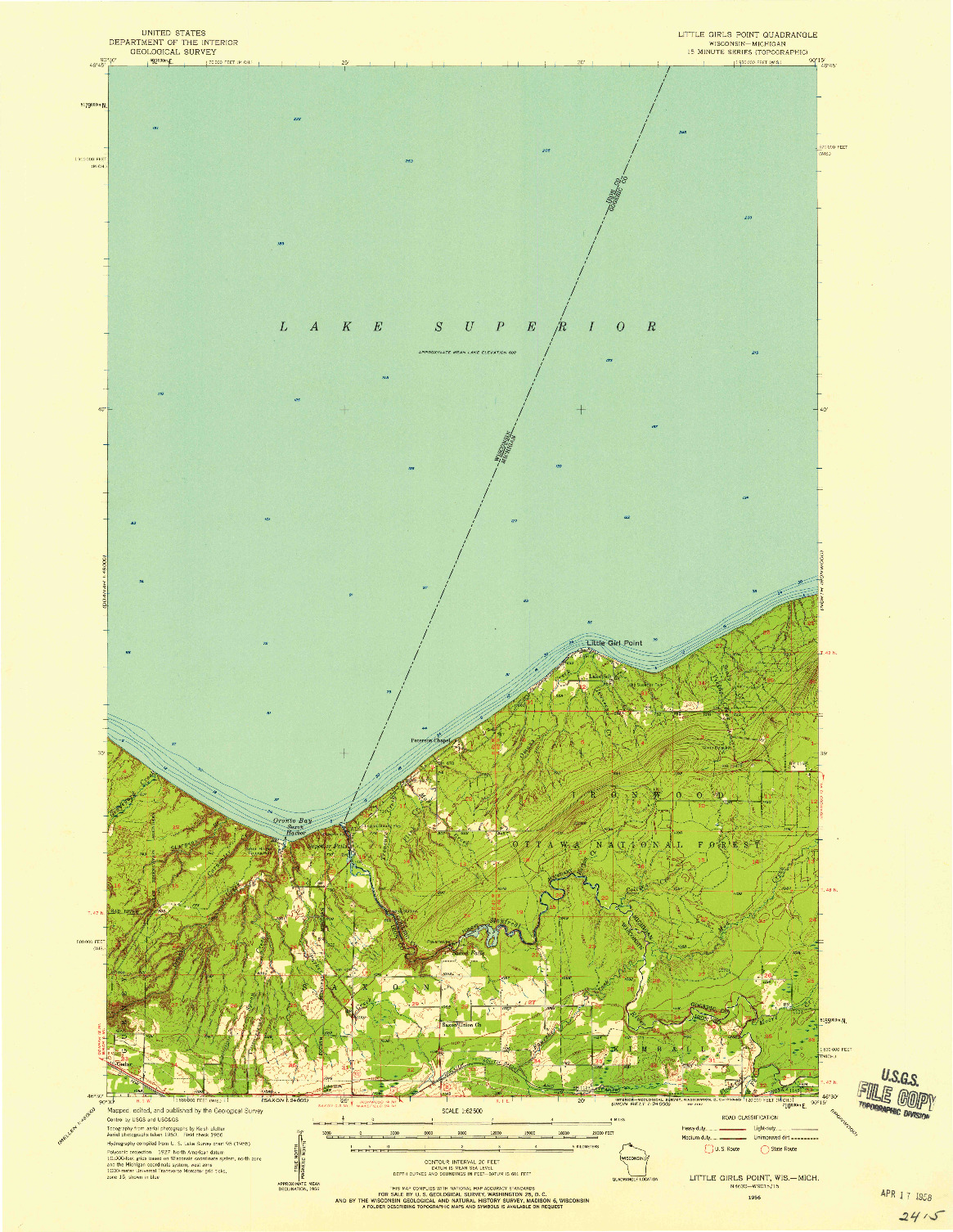 USGS 1:62500-SCALE QUADRANGLE FOR LITTLE GIRLS POINT, WI 1956