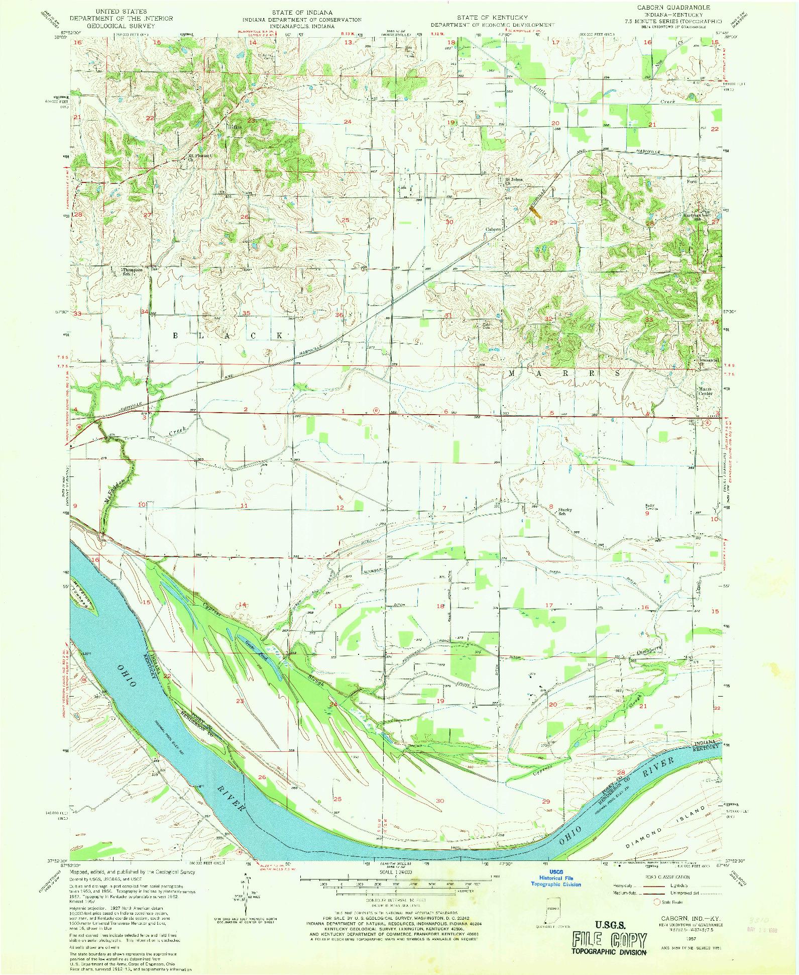 USGS 1:24000-SCALE QUADRANGLE FOR CABORN, IN 1957
