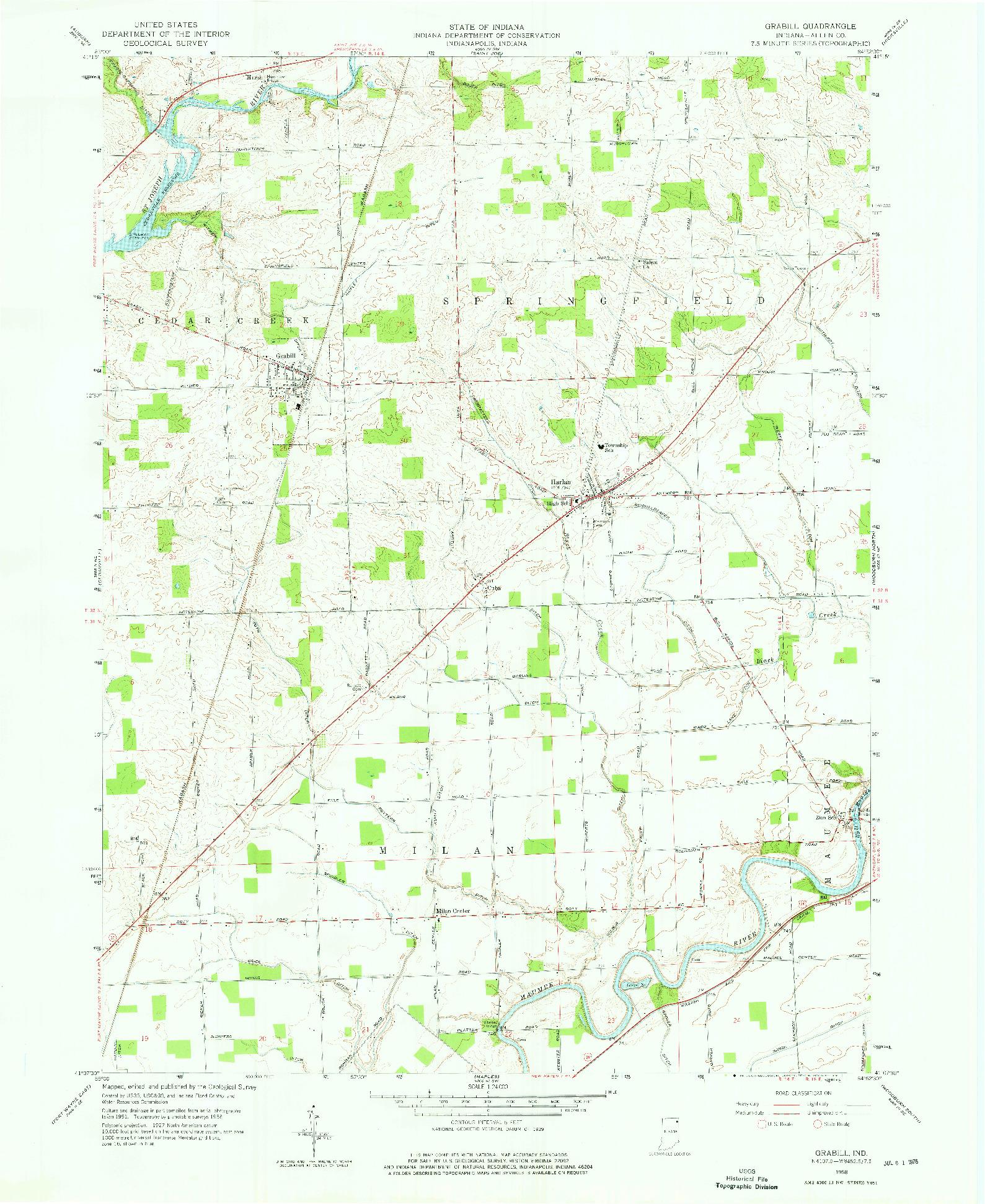 USGS 1:24000-SCALE QUADRANGLE FOR GRABILL, IN 1958