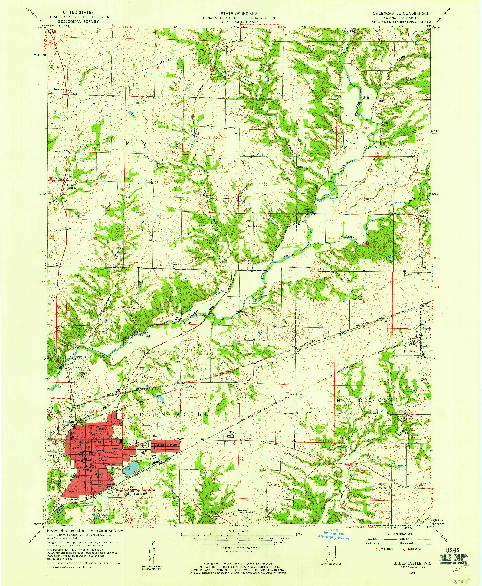 USGS 1:24000-SCALE QUADRANGLE FOR GREENCASTLE, IN 1958
