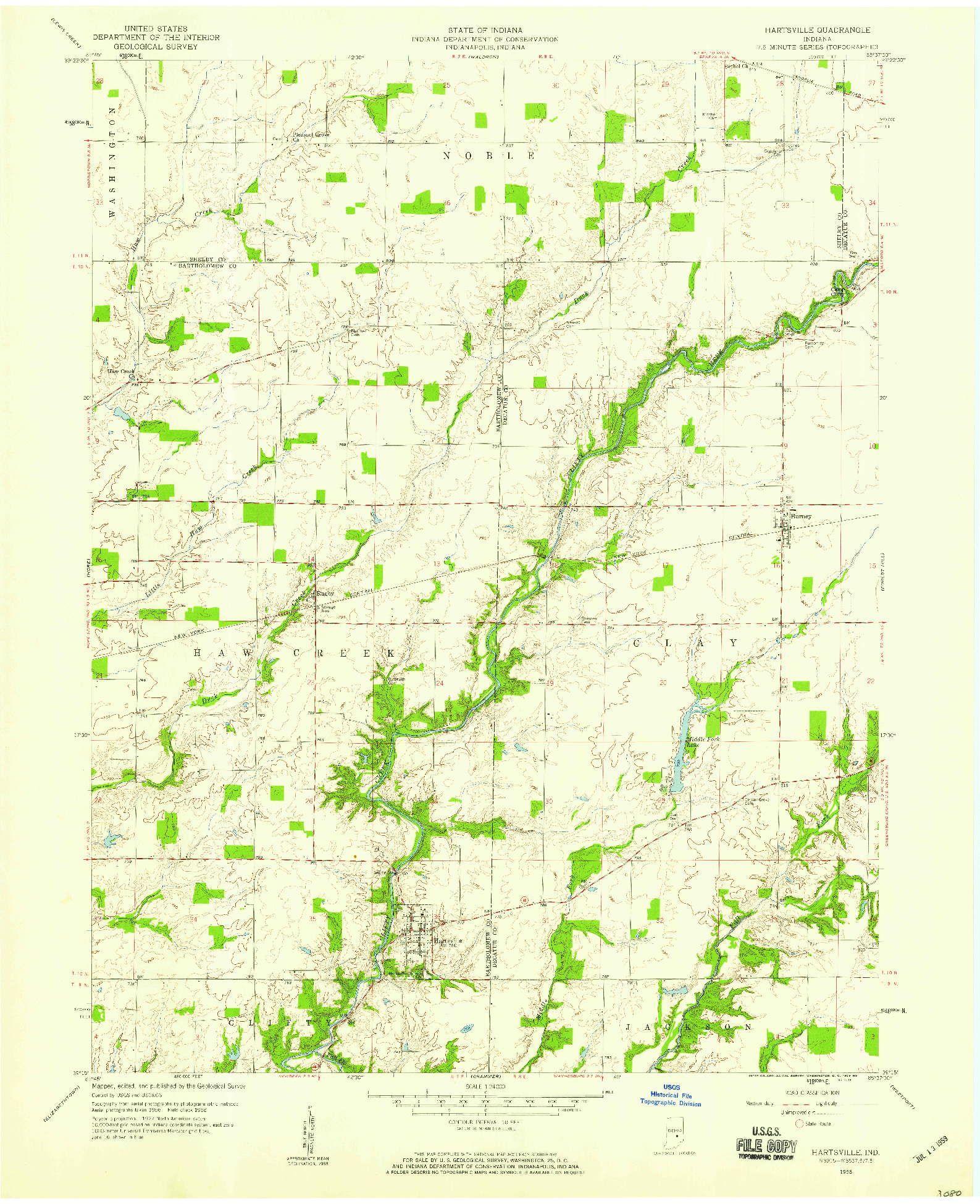 USGS 1:24000-SCALE QUADRANGLE FOR HARTSVILLE, IN 1958