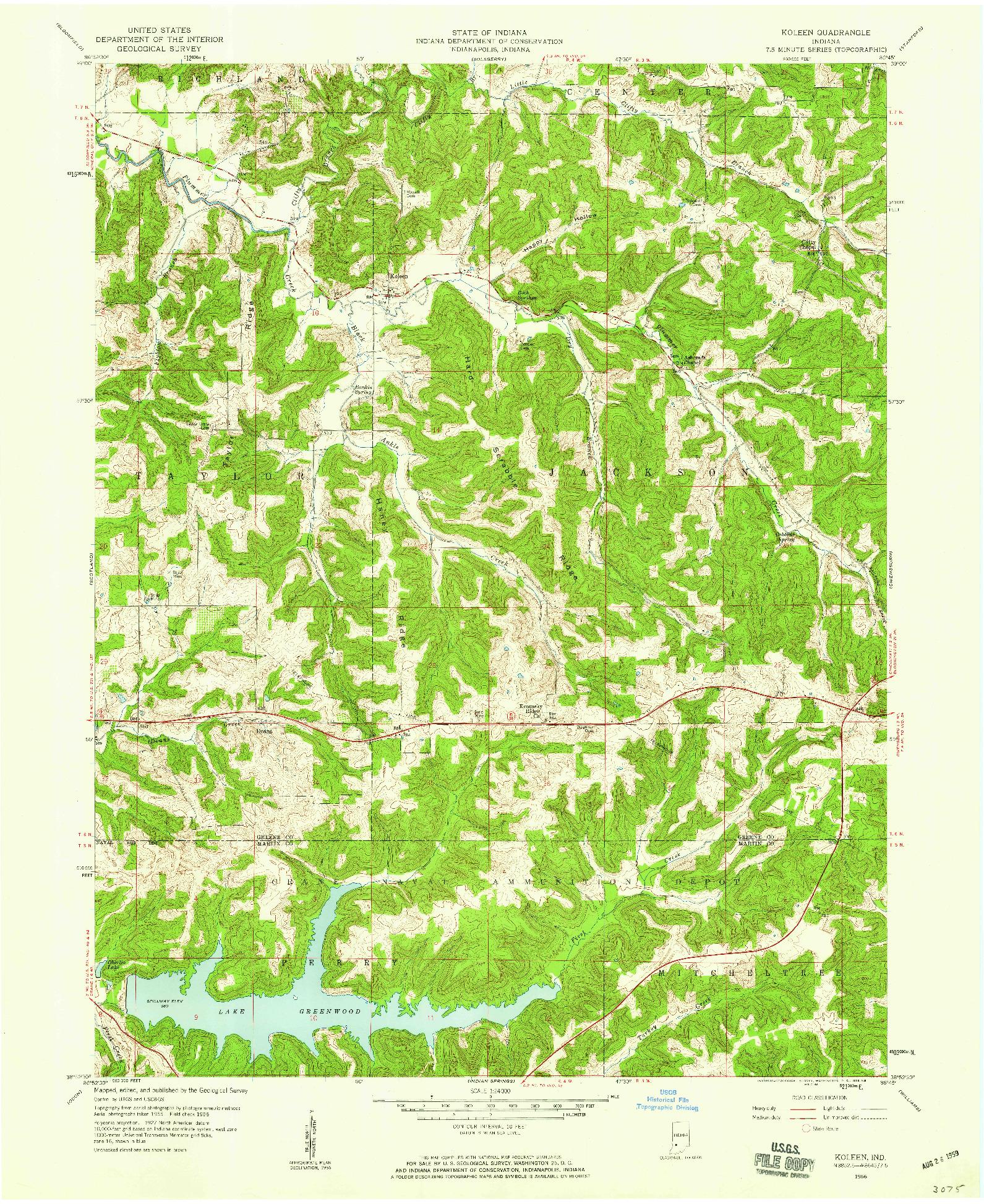 USGS 1:24000-SCALE QUADRANGLE FOR KOLEEN, IN 1956