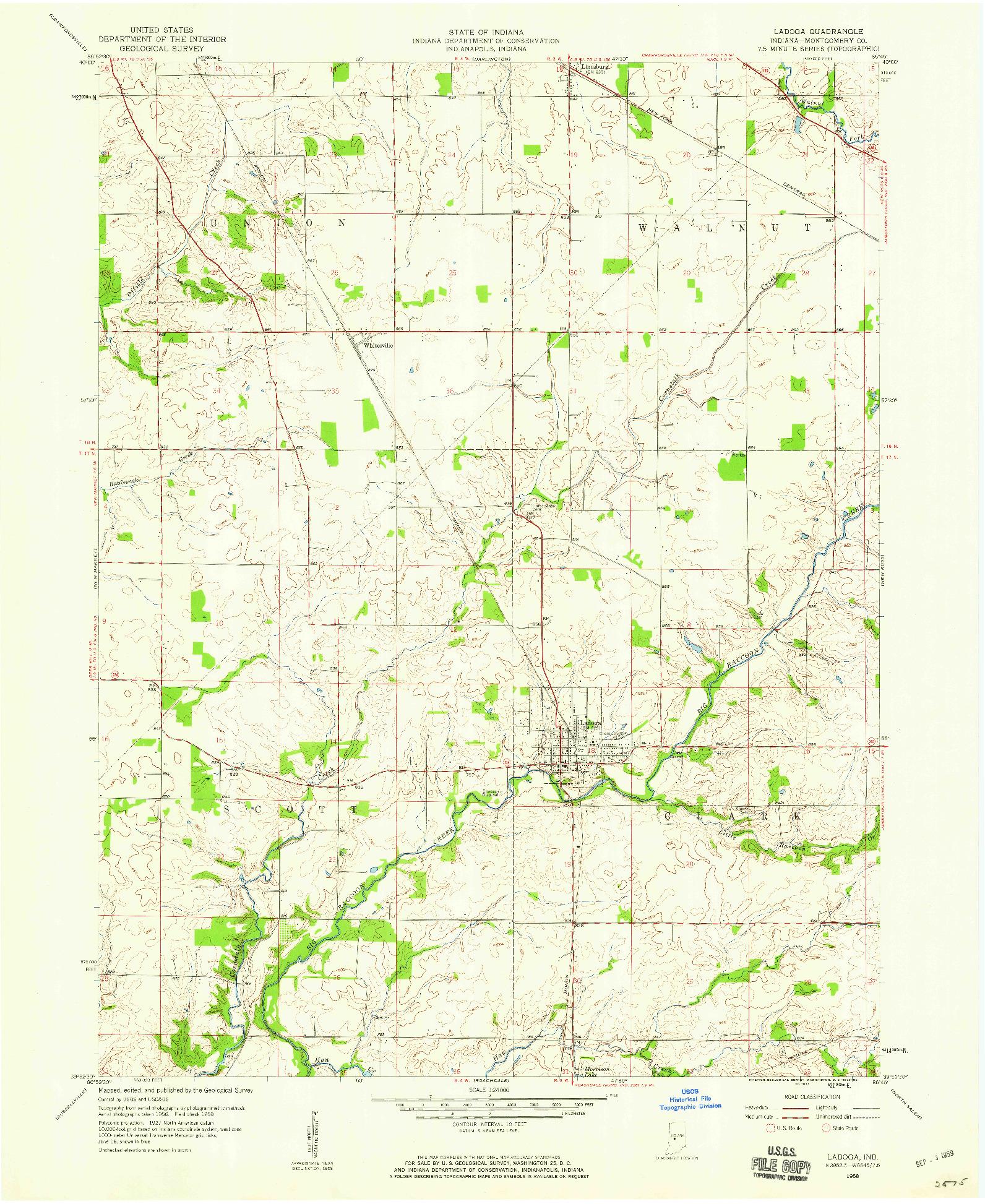 USGS 1:24000-SCALE QUADRANGLE FOR LADOGA, IN 1958