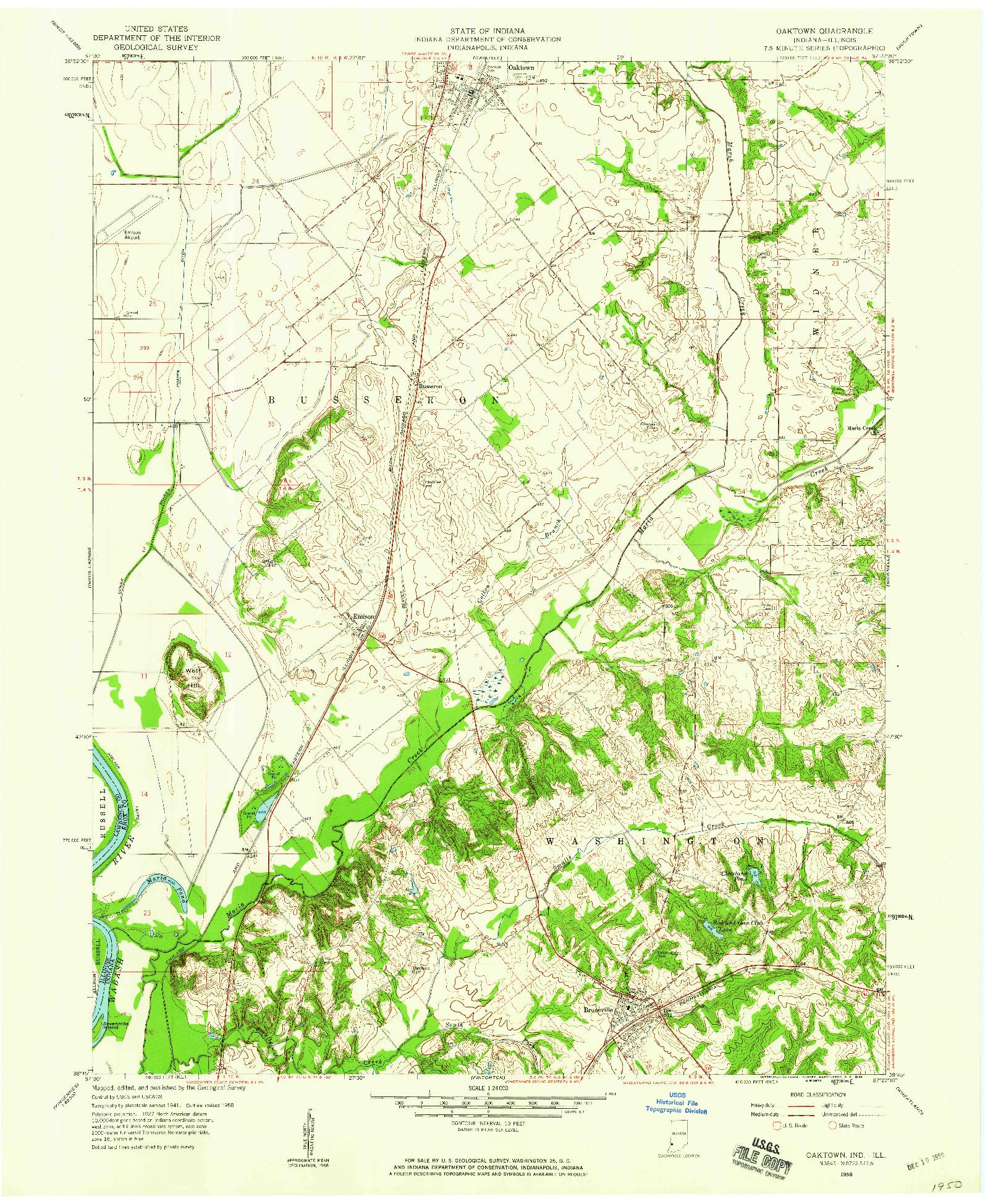USGS 1:24000-SCALE QUADRANGLE FOR OAKTOWN, IN 1958