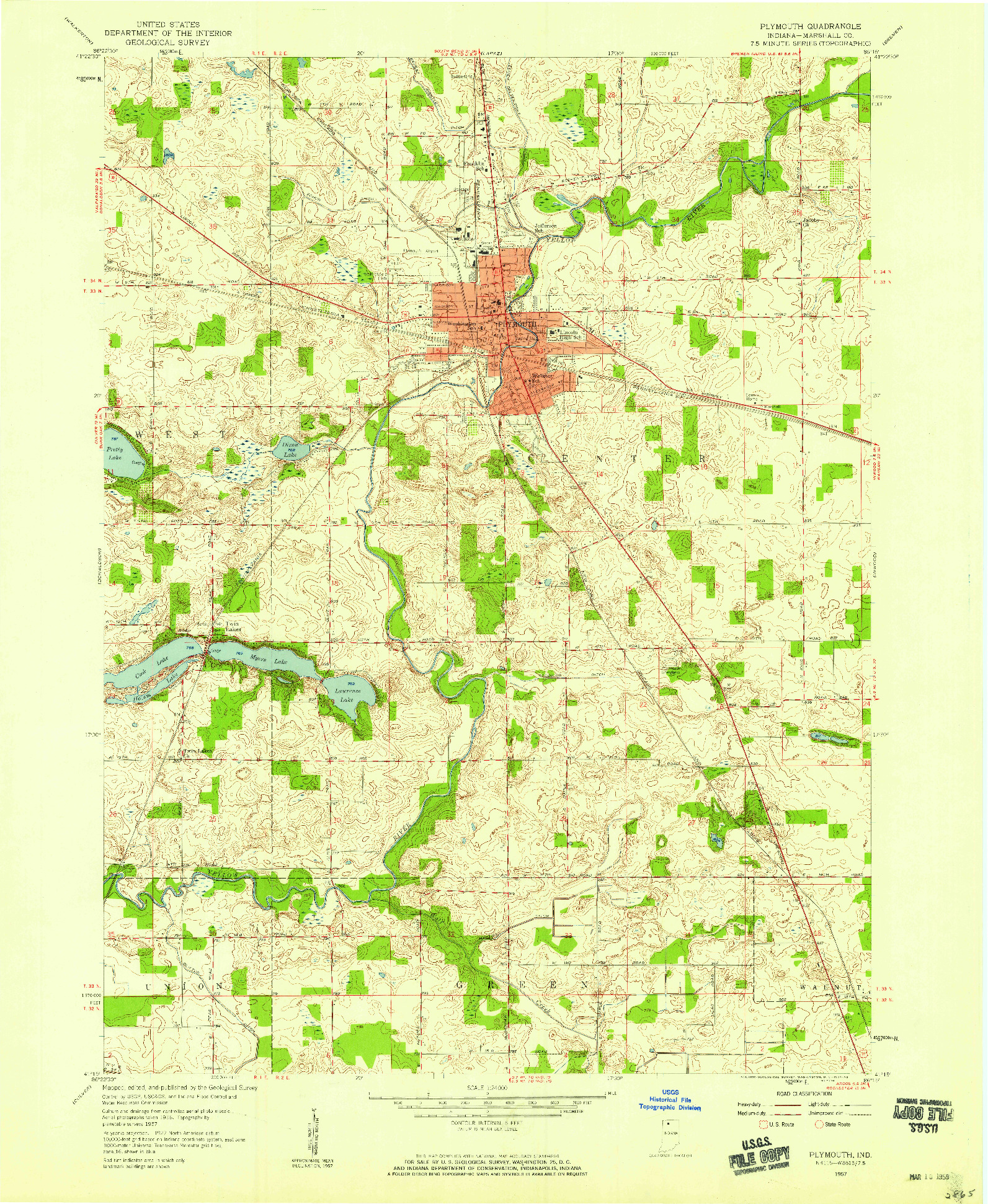 USGS 1:24000-SCALE QUADRANGLE FOR PLYMOUTH, IN 1957