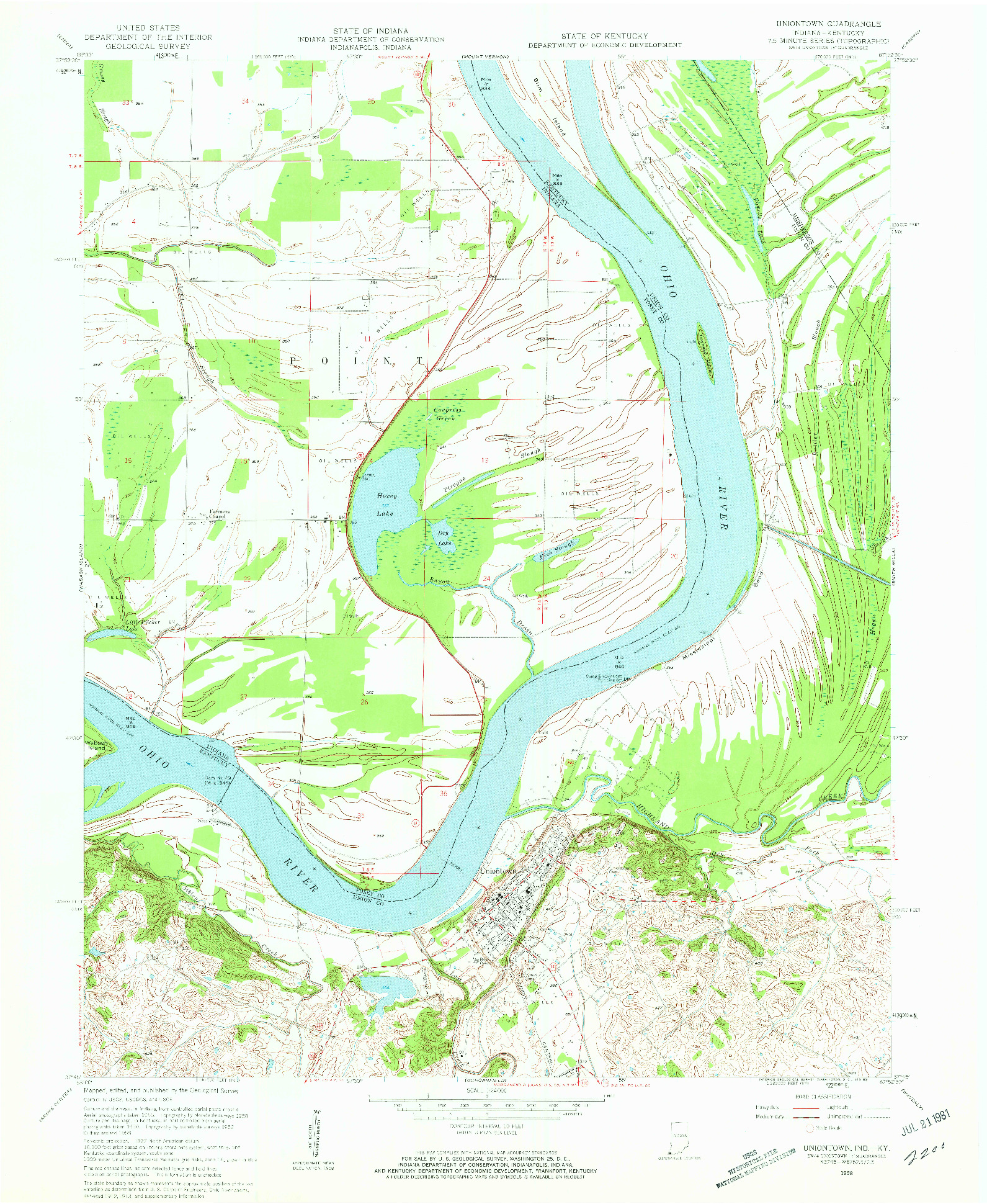 USGS 1:24000-SCALE QUADRANGLE FOR UNIONTOWN, IN 1958