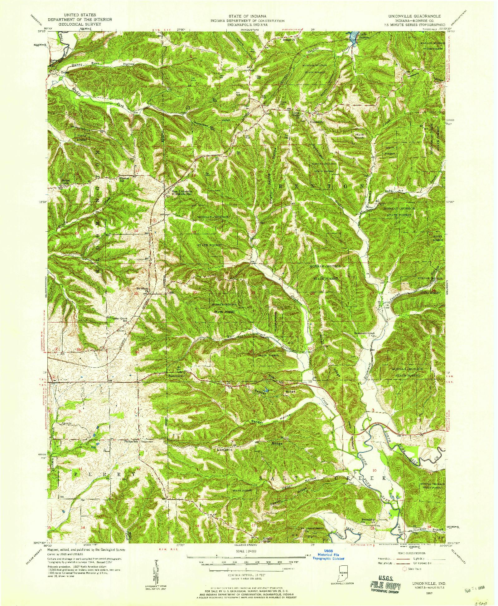 USGS 1:24000-SCALE QUADRANGLE FOR UNIONVILLE, IN 1957