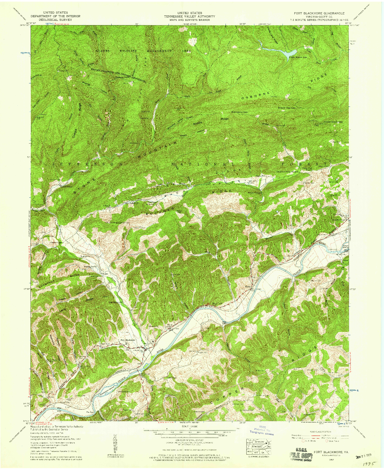 USGS 1:24000-SCALE QUADRANGLE FOR FORT BLACKMORE, VA 1957