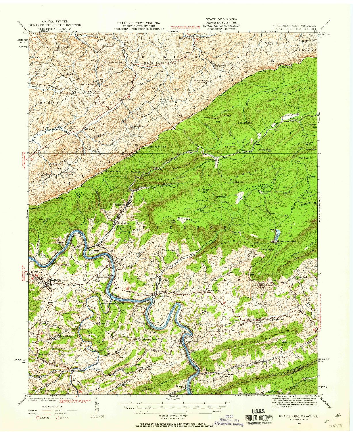 USGS 1:62500-SCALE QUADRANGLE FOR PEARISBURG, VA 1932
