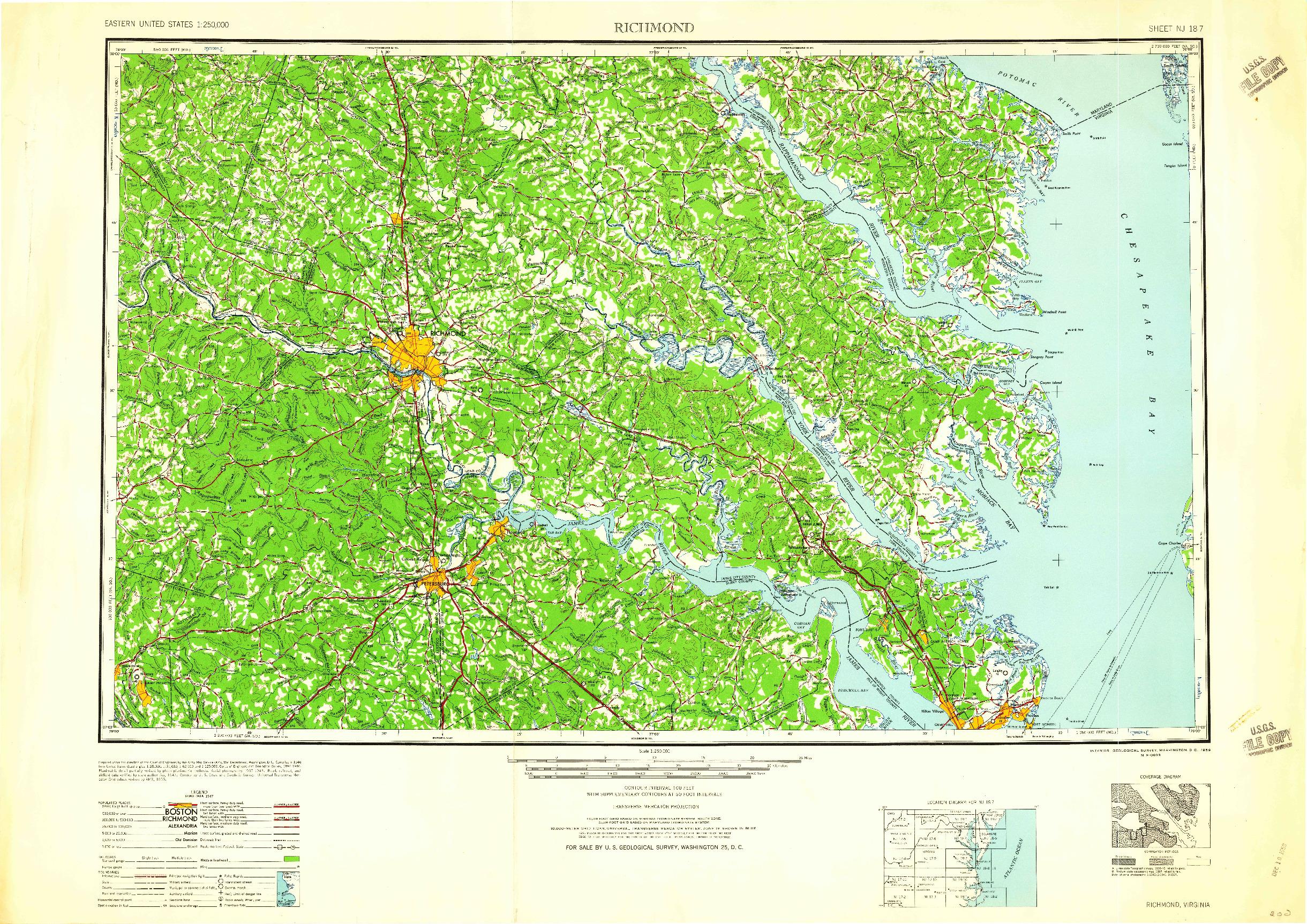 USGS 1:250000-SCALE QUADRANGLE FOR RICHMOND, VA 1959