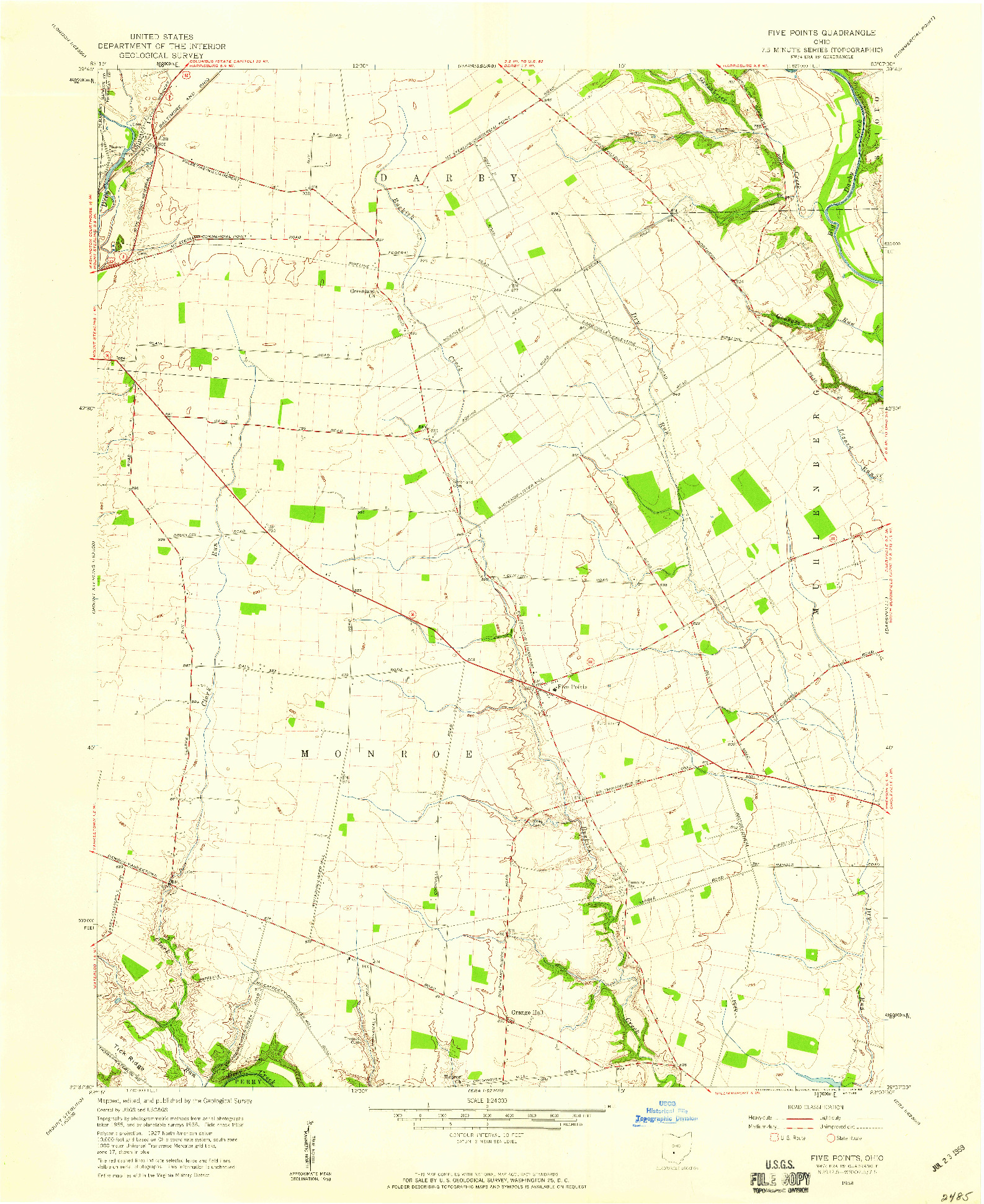 USGS 1:24000-SCALE QUADRANGLE FOR FIVE POINTS, OH 1958