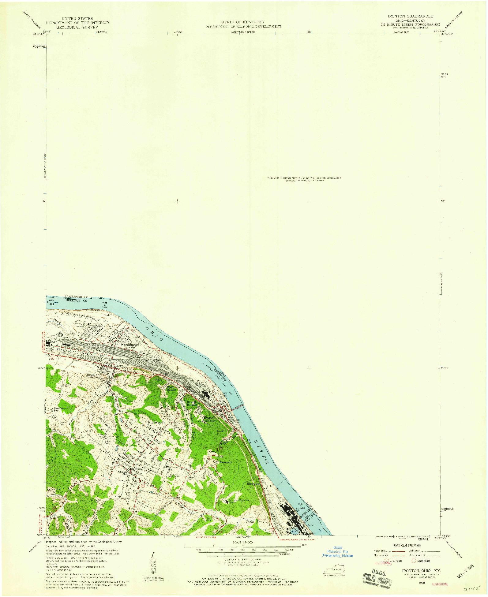 USGS 1:24000-SCALE QUADRANGLE FOR IRONTON, OH 1958