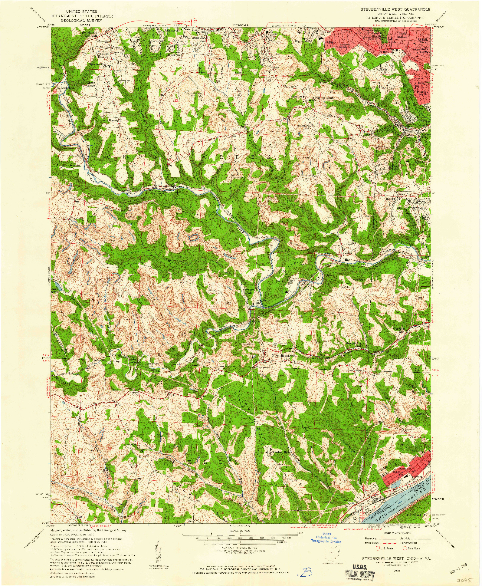USGS 1:24000-SCALE QUADRANGLE FOR STEUBENVILLE WEST, OH 1958