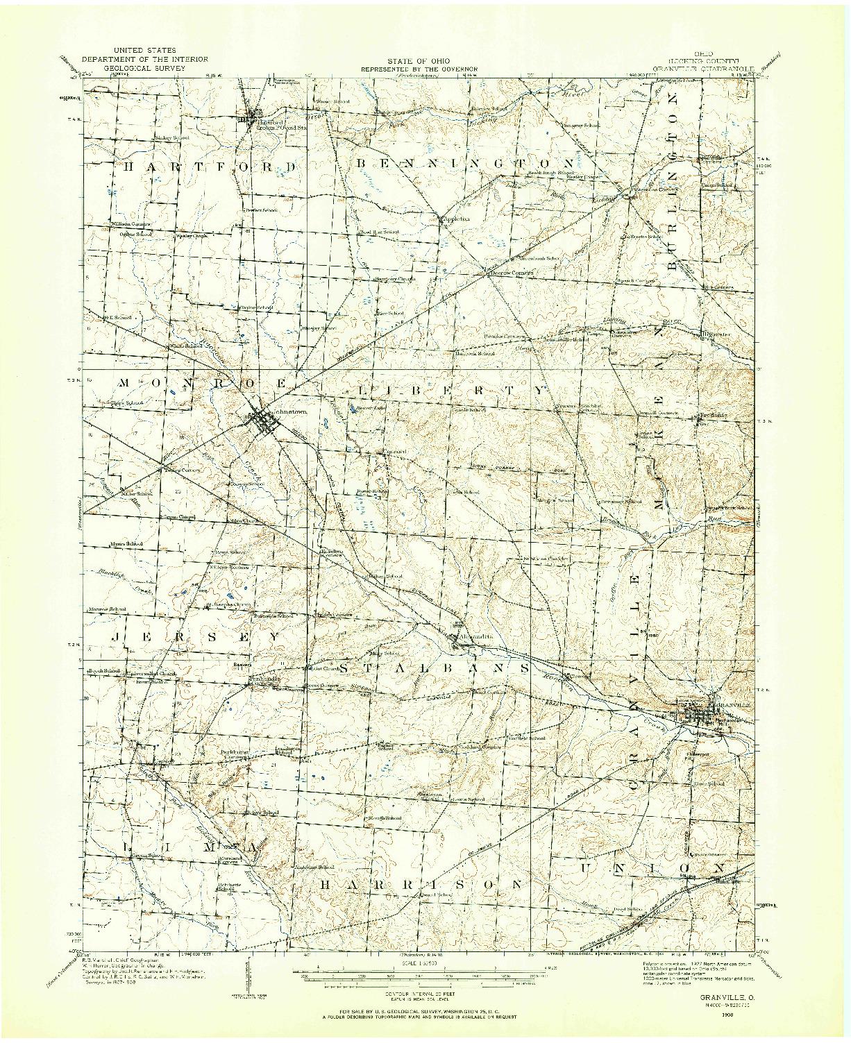 USGS 1:62500-SCALE QUADRANGLE FOR GRANVILLE, OH 1908