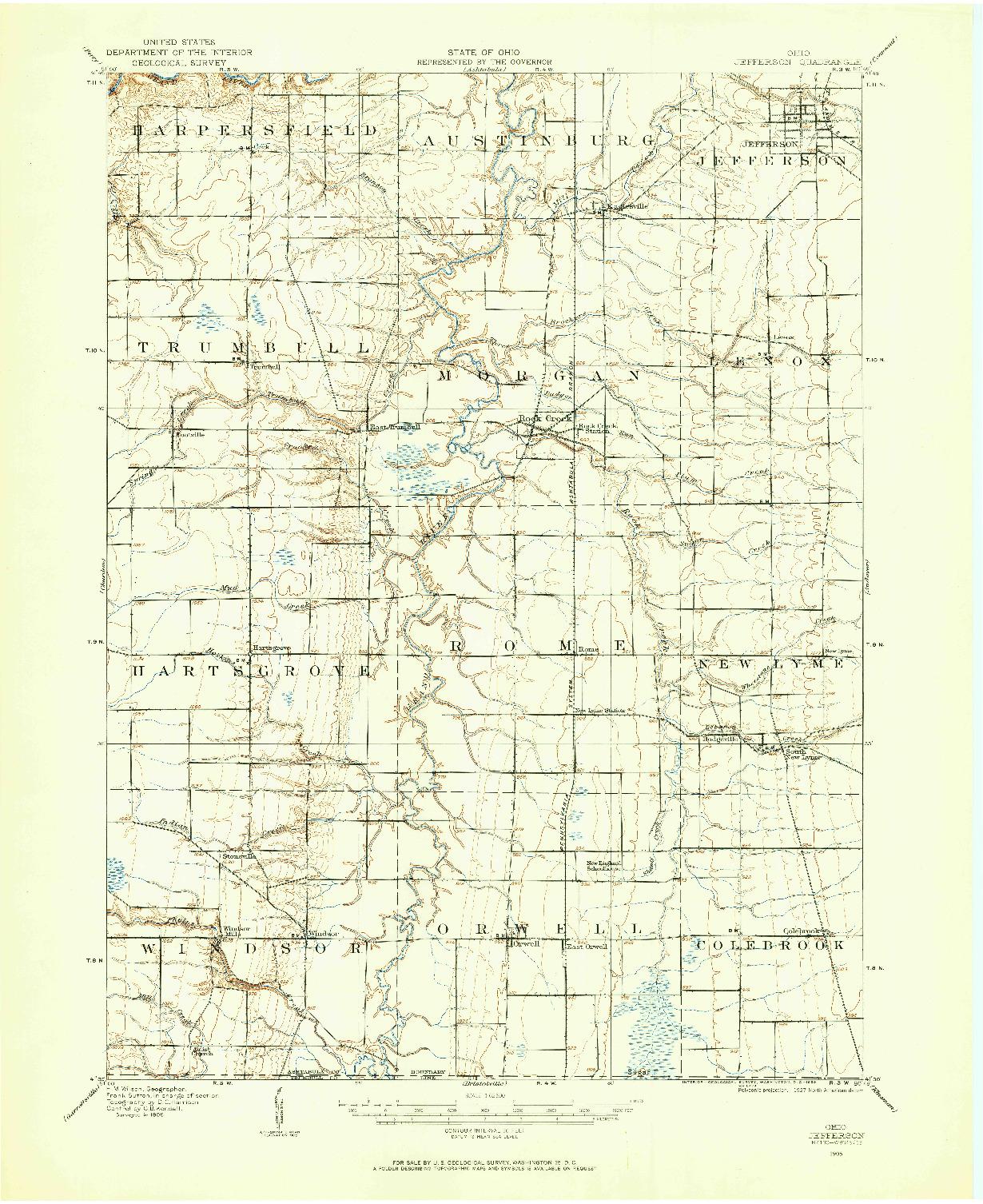 USGS 1:62500-SCALE QUADRANGLE FOR JEFFERSON, OH 1905