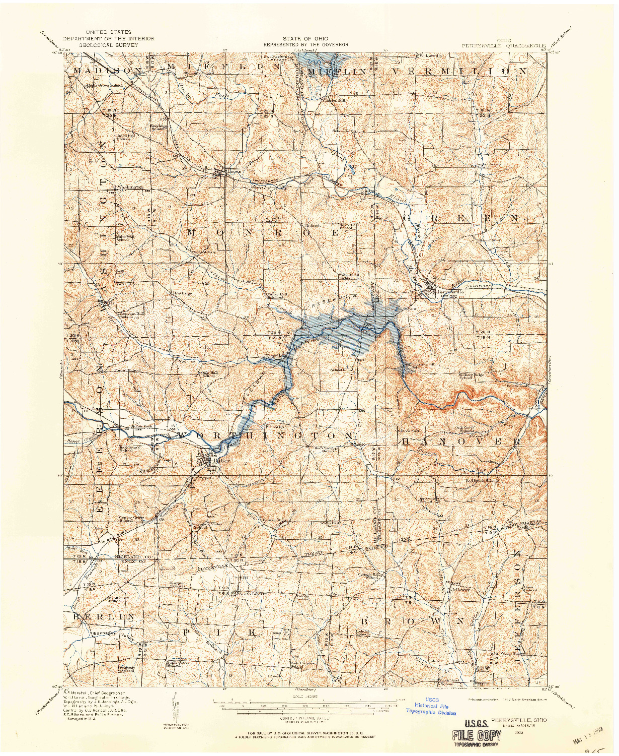 USGS 1:62500-SCALE QUADRANGLE FOR PERRYSVILLE, OH 1912