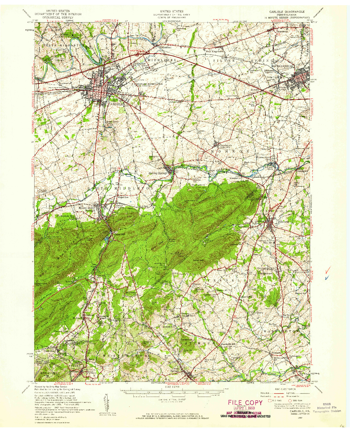 USGS 1:62500-SCALE QUADRANGLE FOR CARLISLE, PA 1952