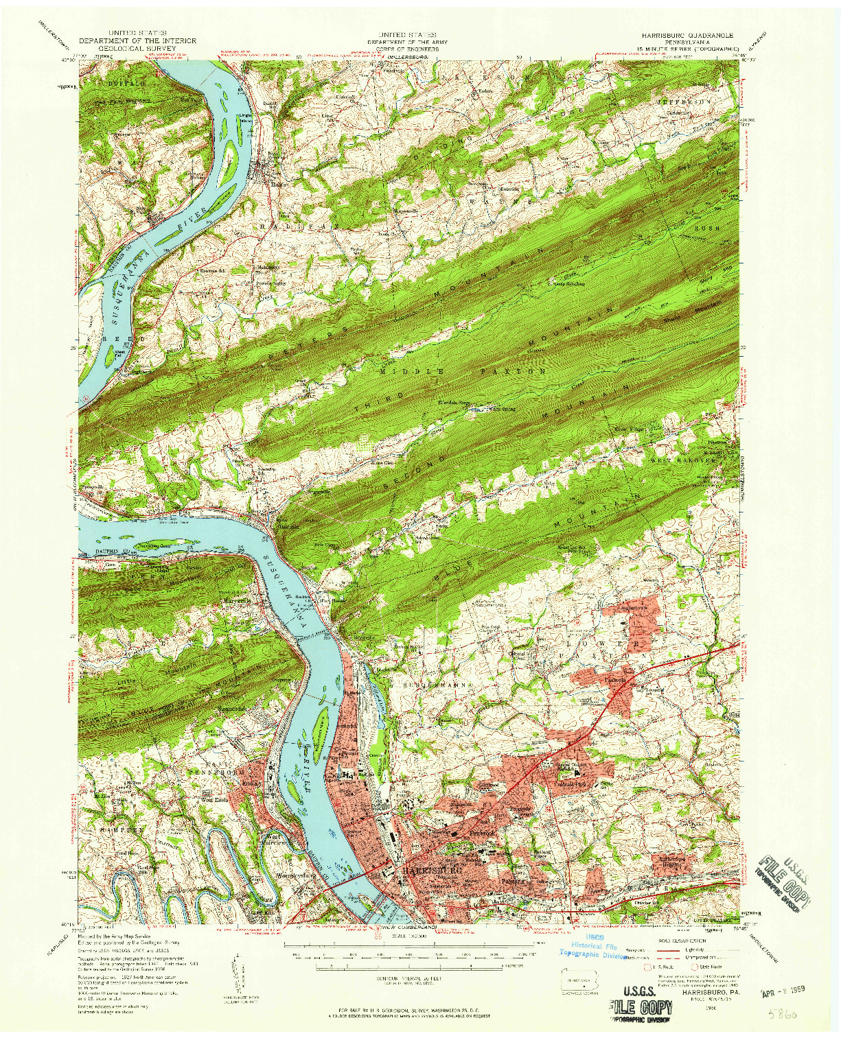 USGS 1:62500-SCALE QUADRANGLE FOR HARRISBURG, PA 1956