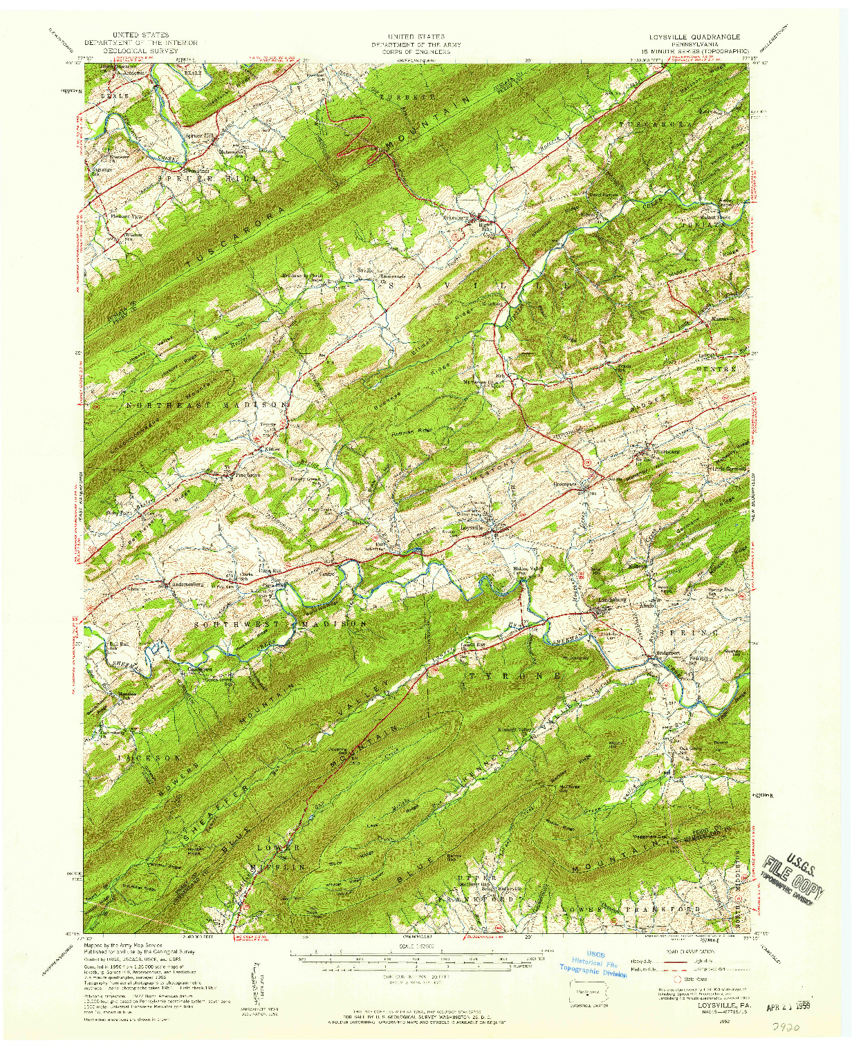 USGS 1:62500-SCALE QUADRANGLE FOR LOYSVILLE, PA 1952