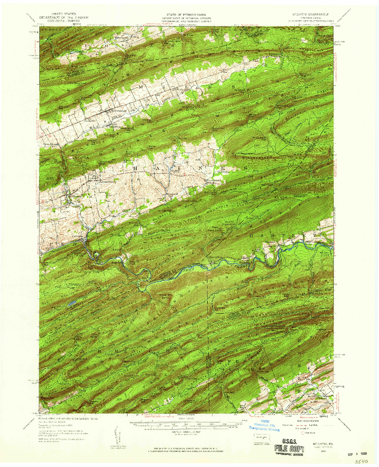 USGS 1:62500-SCALE QUADRANGLE FOR MILLHEIM, PA 1957