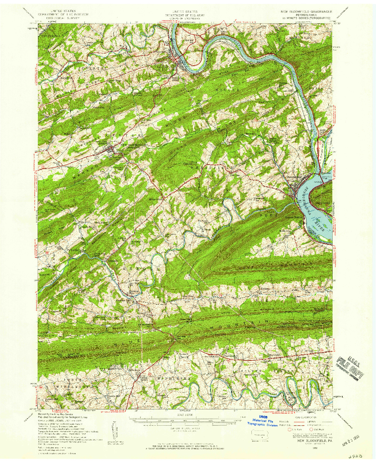 USGS 1:62500-SCALE QUADRANGLE FOR NEW BLOOMFIELD, PA 1952