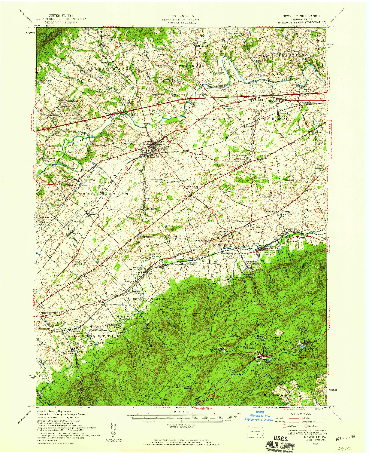 USGS 1:62500-SCALE QUADRANGLE FOR NEWVILLE, PA 1952