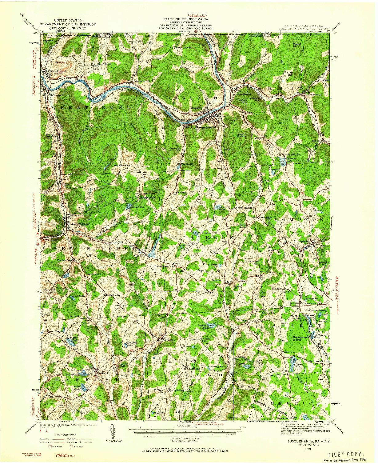 USGS 1:62500-SCALE QUADRANGLE FOR SUSQUEHANNA, PA 1932