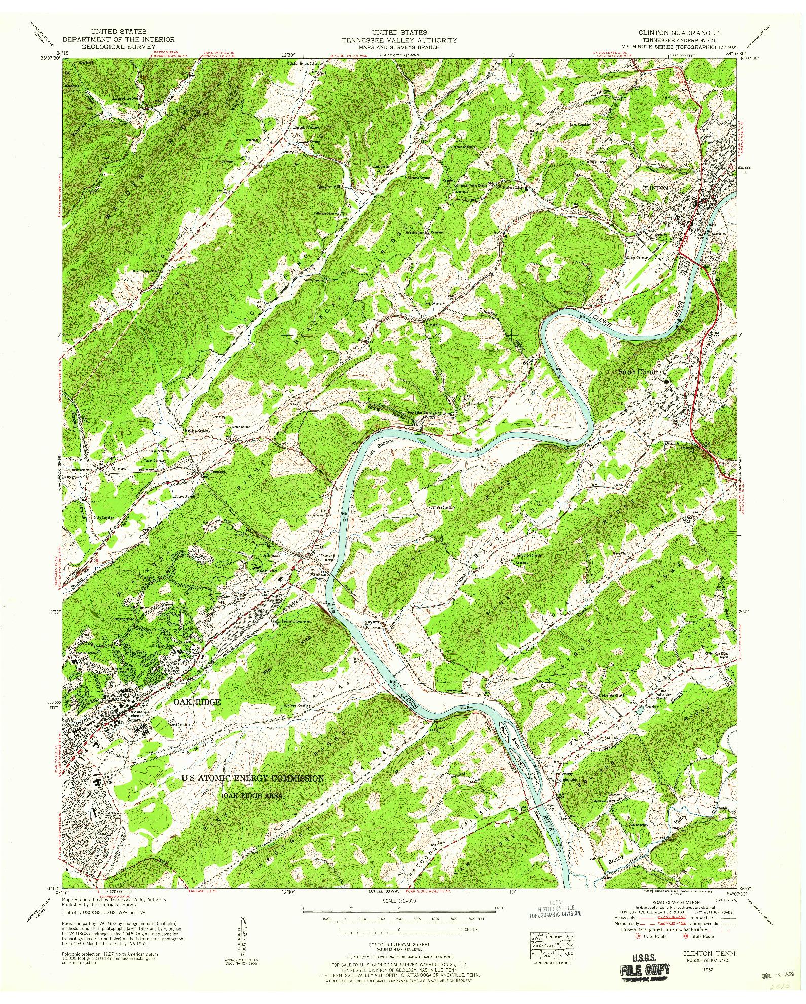 USGS 1:24000-SCALE QUADRANGLE FOR CLINTON, TN 1952