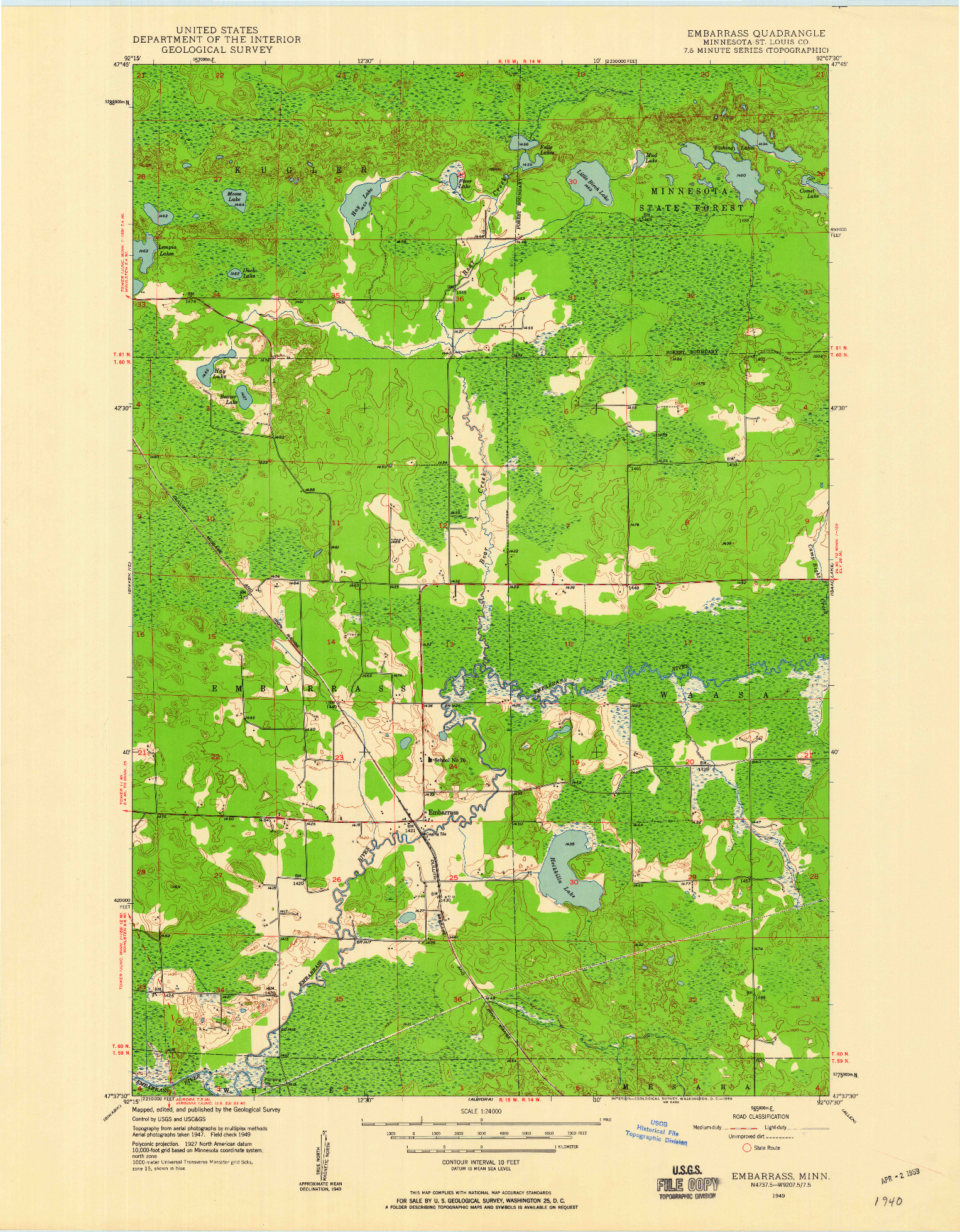 USGS 1:24000-SCALE QUADRANGLE FOR EMBARRASS, MN 1949