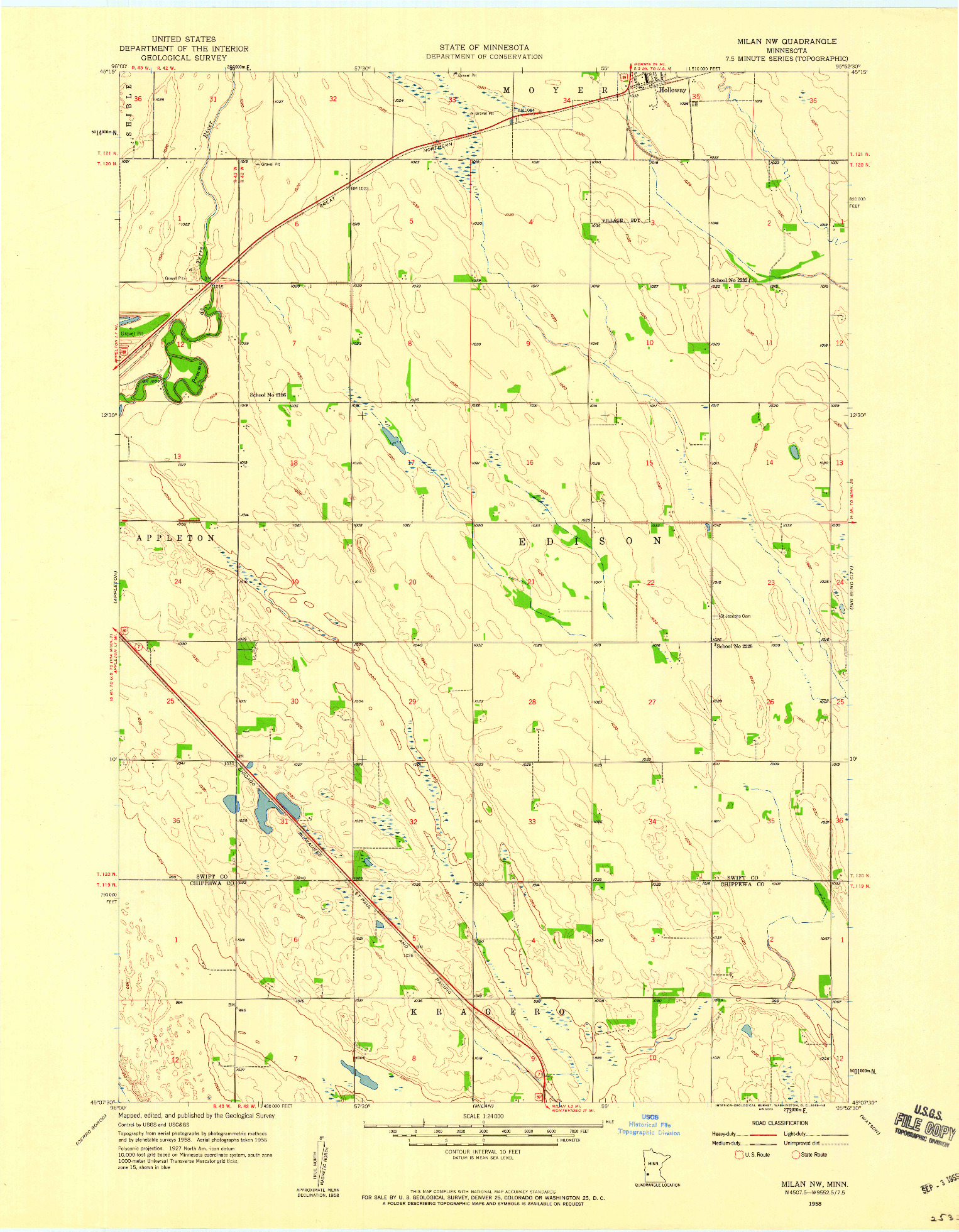 USGS 1:24000-SCALE QUADRANGLE FOR MILAN NW, MN 1958