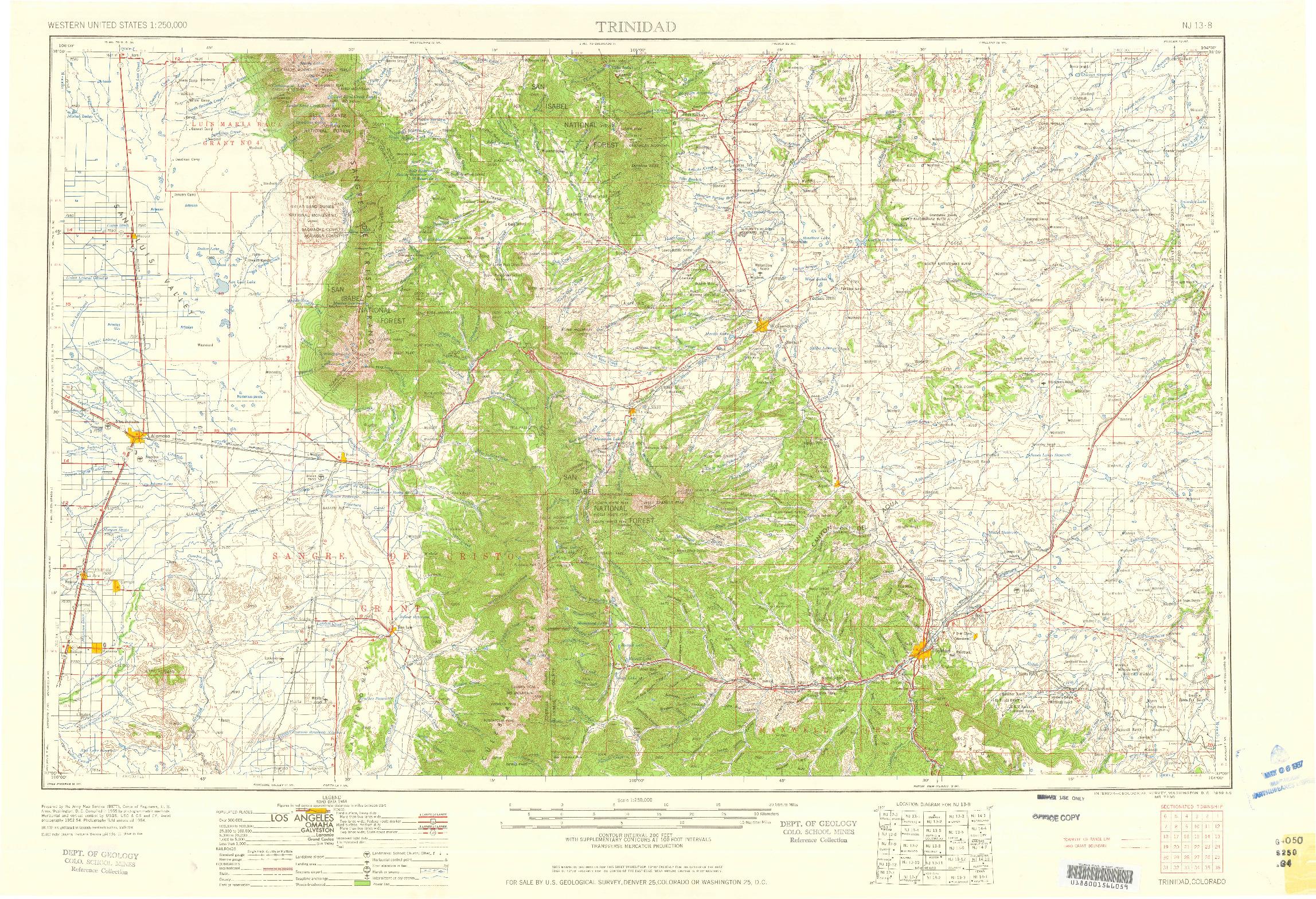 USGS 1:250000-SCALE QUADRANGLE FOR TRINIDAD, CO 1959
