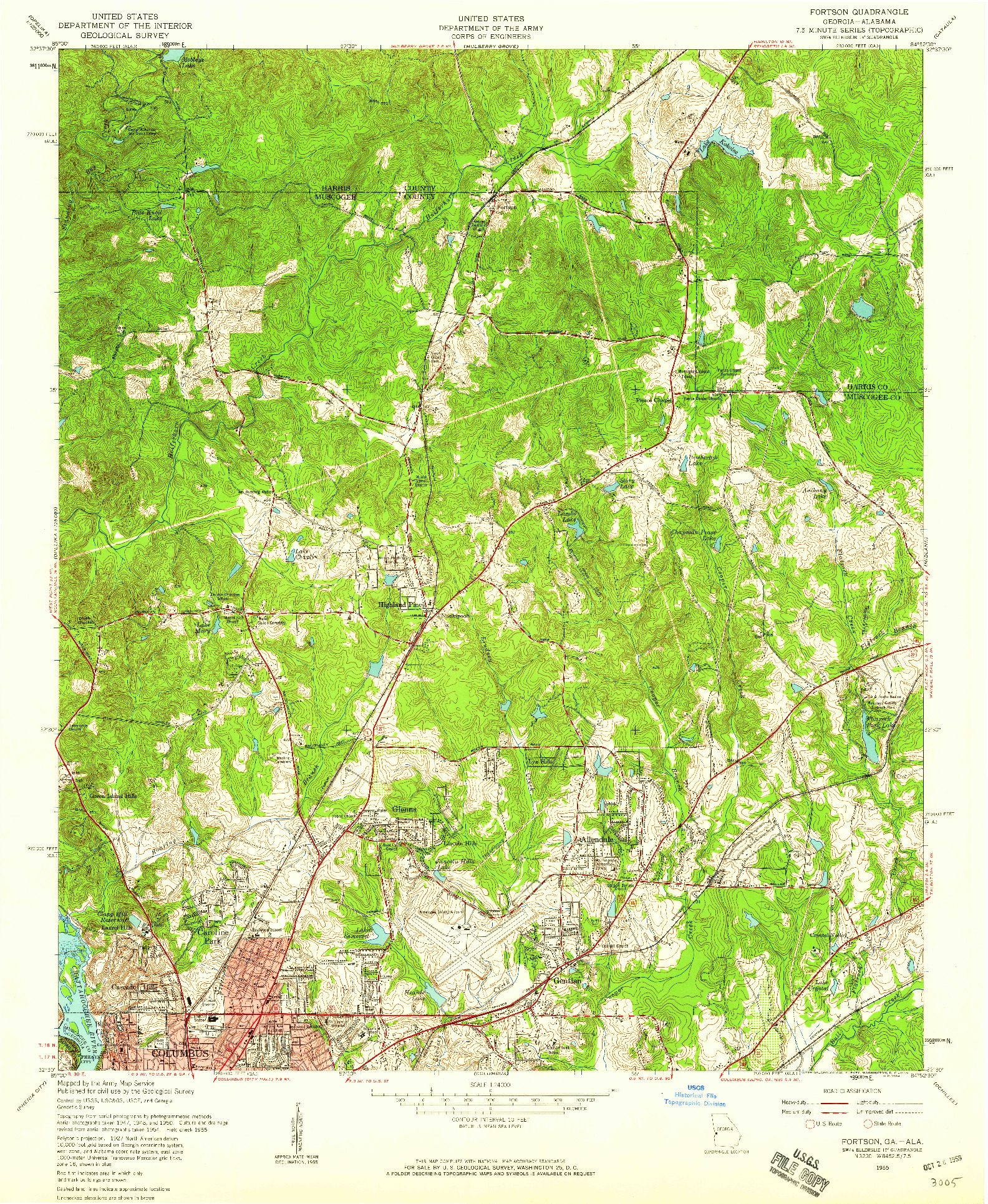 USGS 1:24000-SCALE QUADRANGLE FOR FORTSON, GA 1955